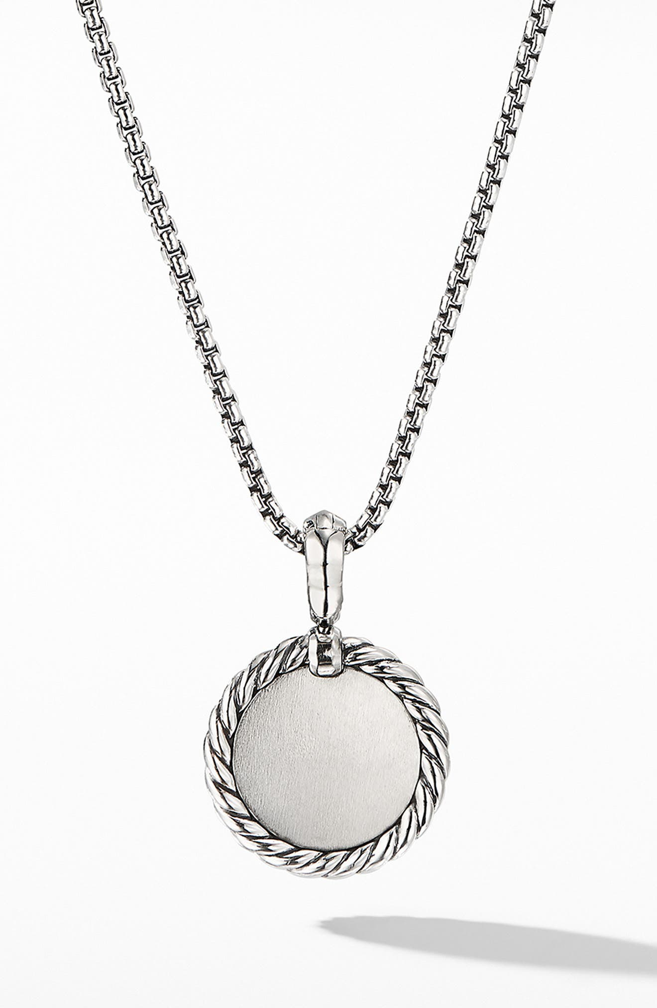 DAVID YURMAN, Initial Charm Necklace with Diamonds, Alternate thumbnail 2, color, SILVER/ DIAMOND-A