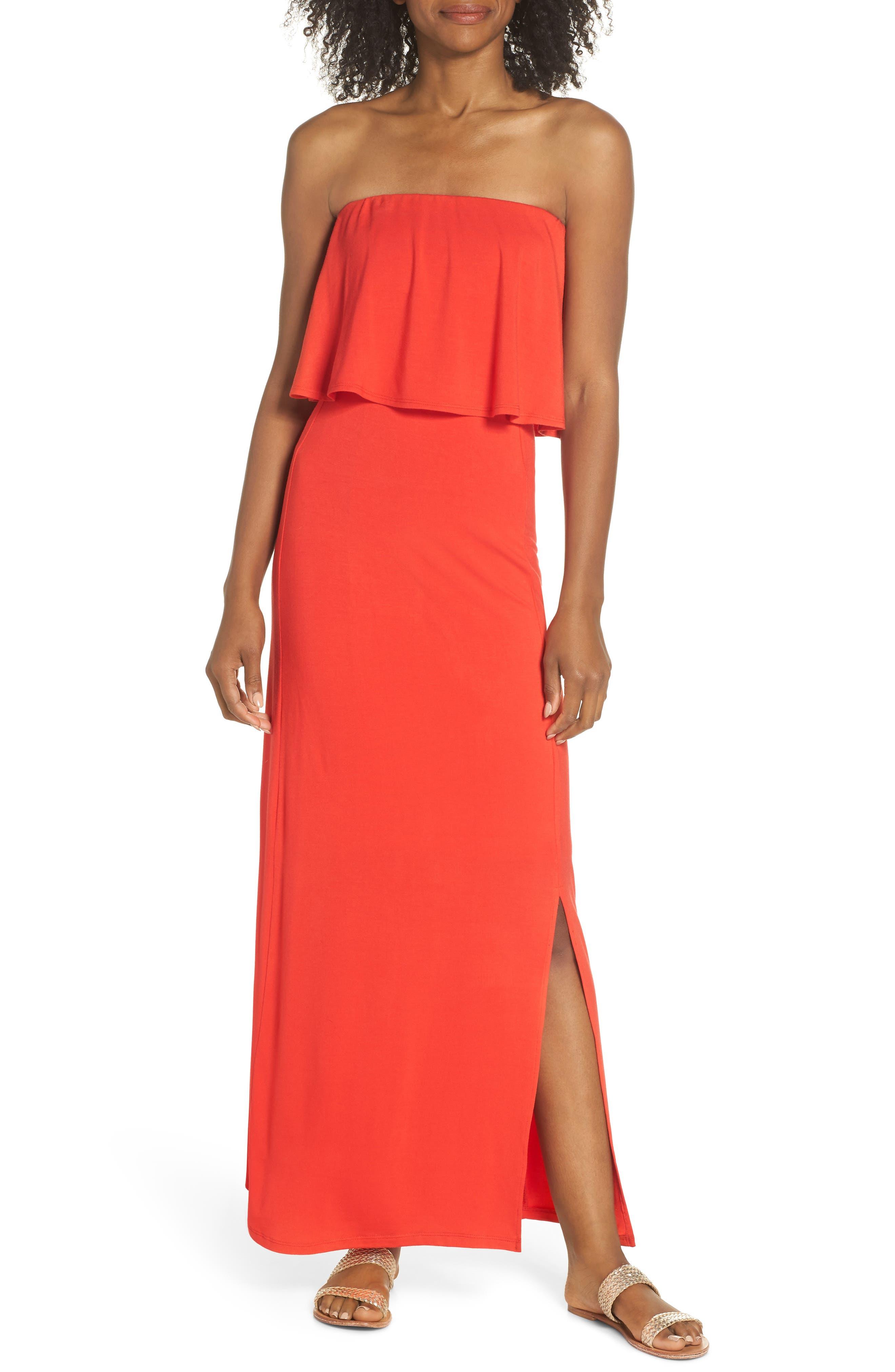 Fraiche By J Strapless Popover Maxi Dress, Red