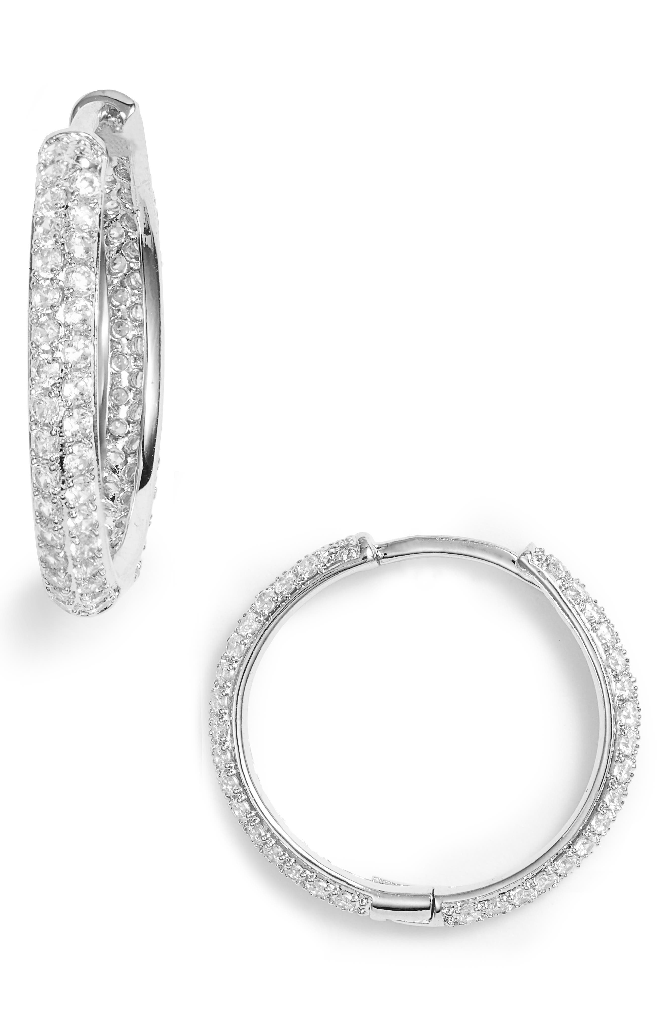 NORDSTROM, Small Pavé Hoop Earrings, Main thumbnail 1, color, CLEAR- SILVER