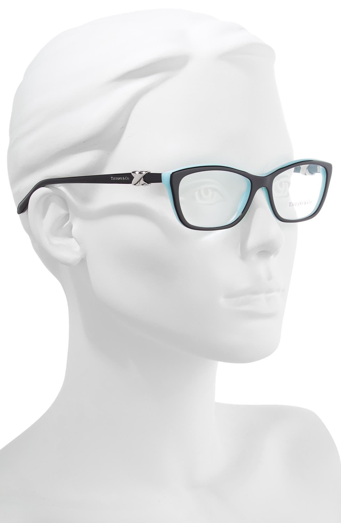 TIFFANY & CO., 54mm Cat Eye Optical Glasses, Alternate thumbnail 2, color, TOP BLACK/ BLUE