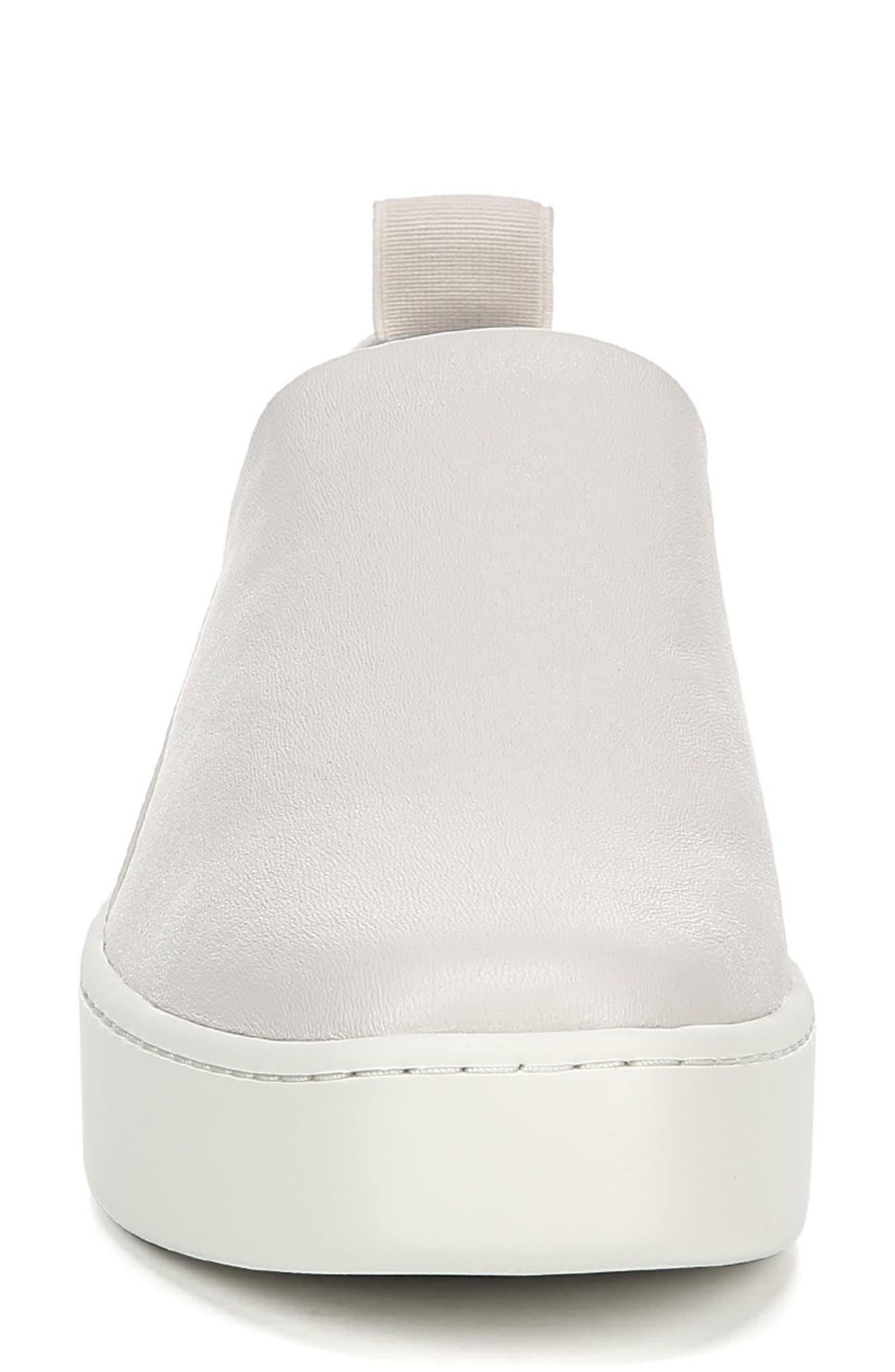 VINCE, Saxon Slip-On Sneaker, Alternate thumbnail 4, color, BONE THIN STRETCH NAPPA