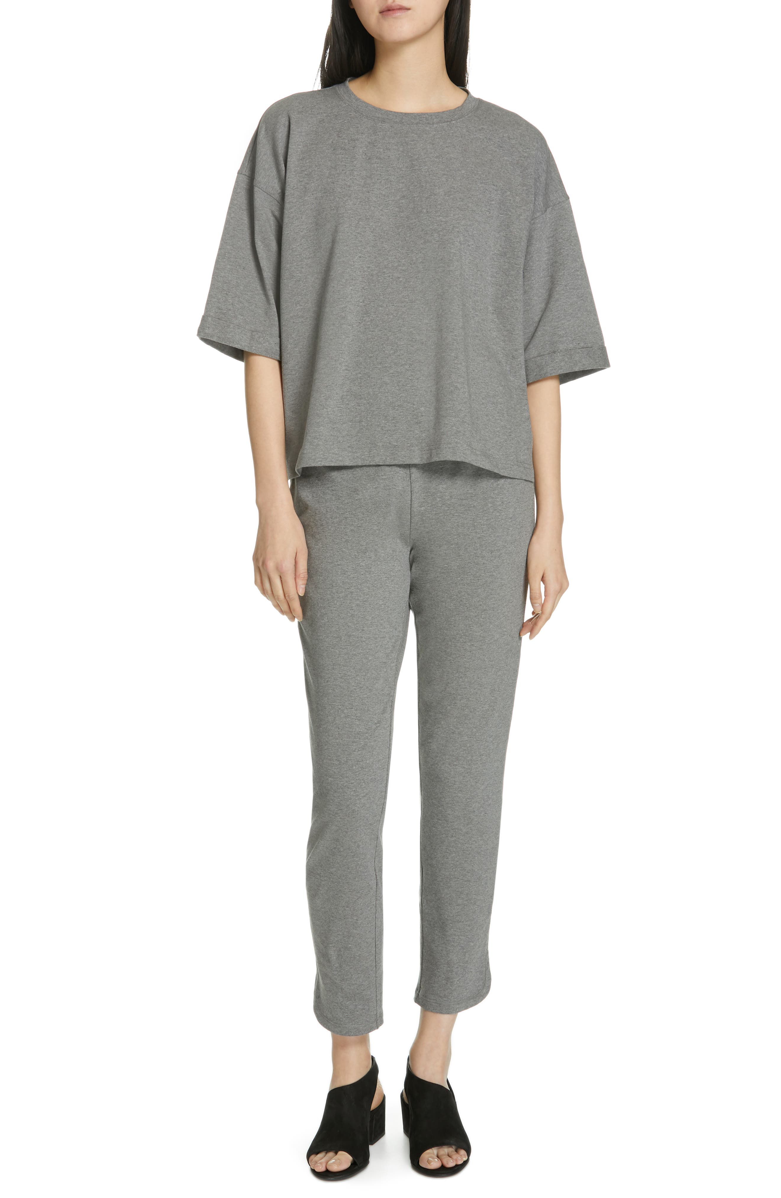 EILEEN FISHER, Stretch Organic Cotton Top, Alternate thumbnail 7, color, MOON