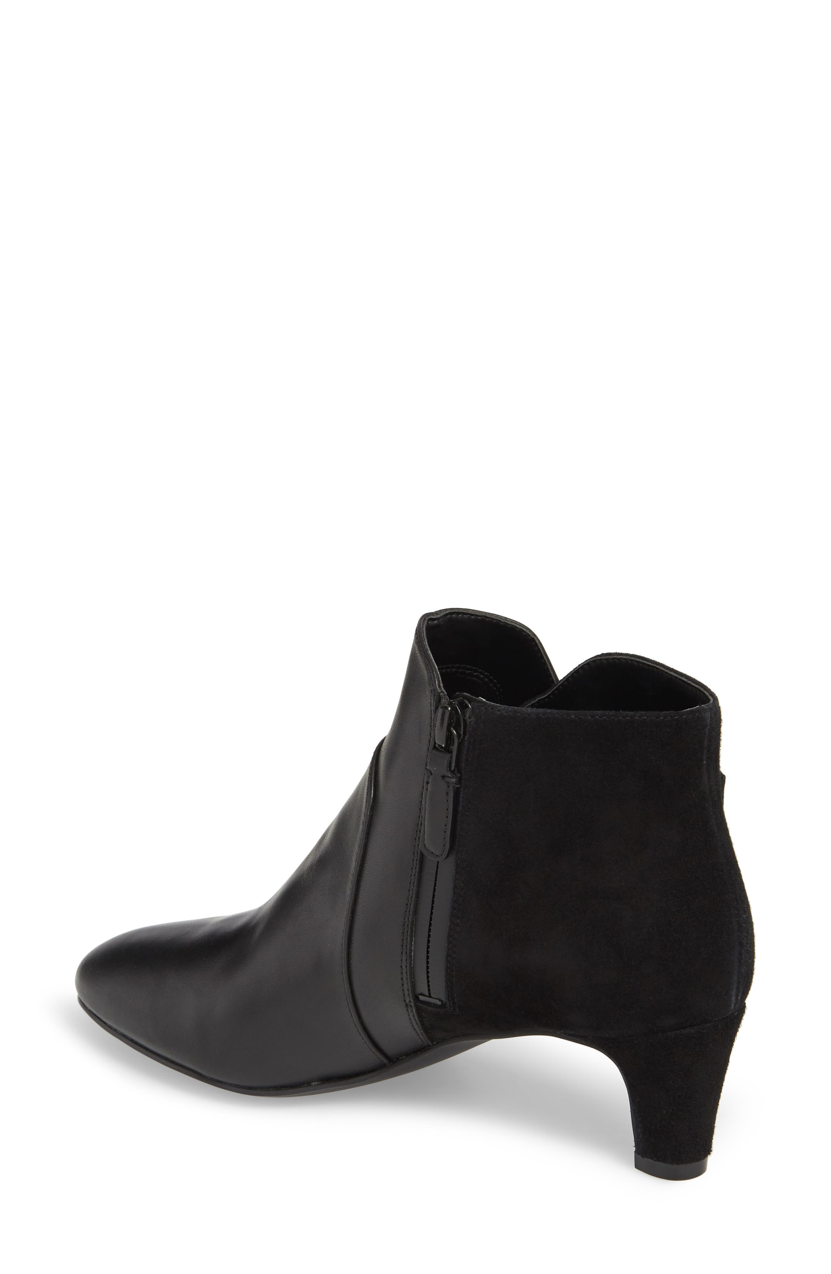 COLE HAAN, Sylvia Waterproof Bootie, Alternate thumbnail 2, color, BLACK LEATHER