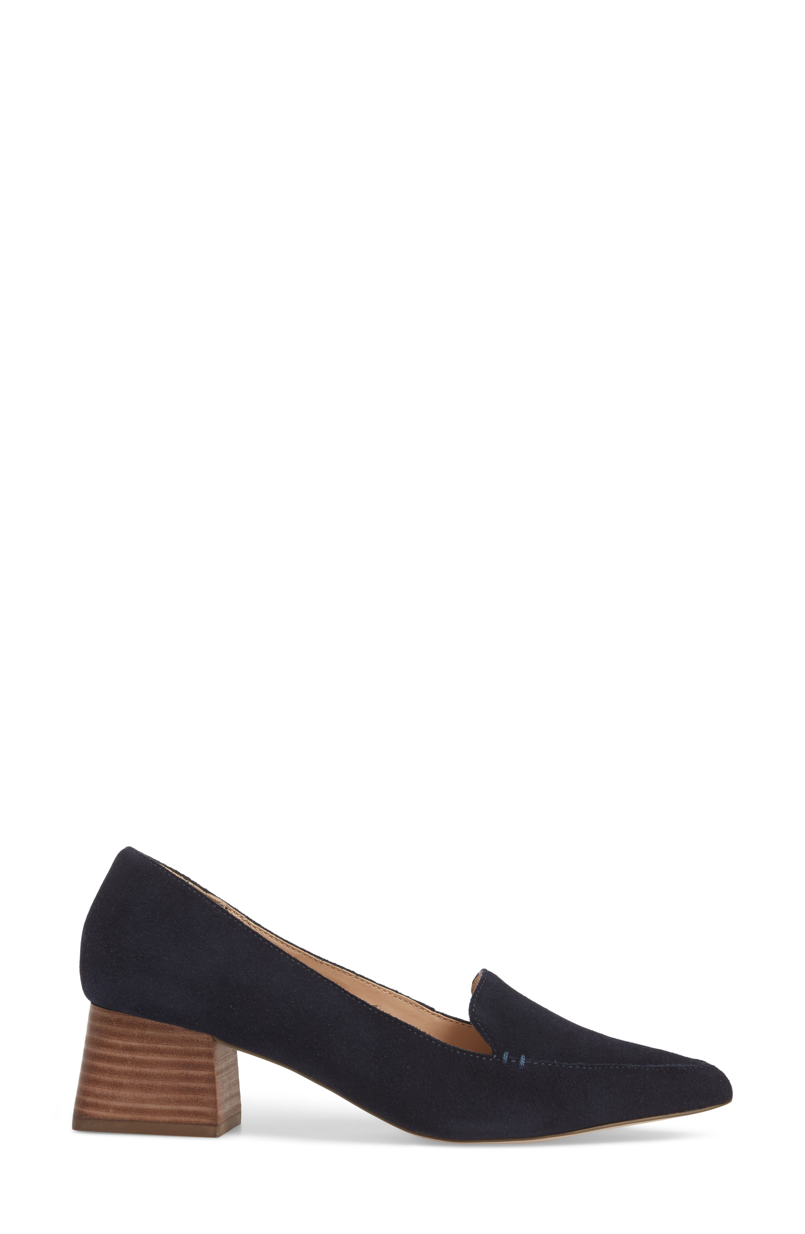 SOLE SOCIETY, Mavis Flare Heel Loafer, Alternate thumbnail 3, color, OMBRE BLUE