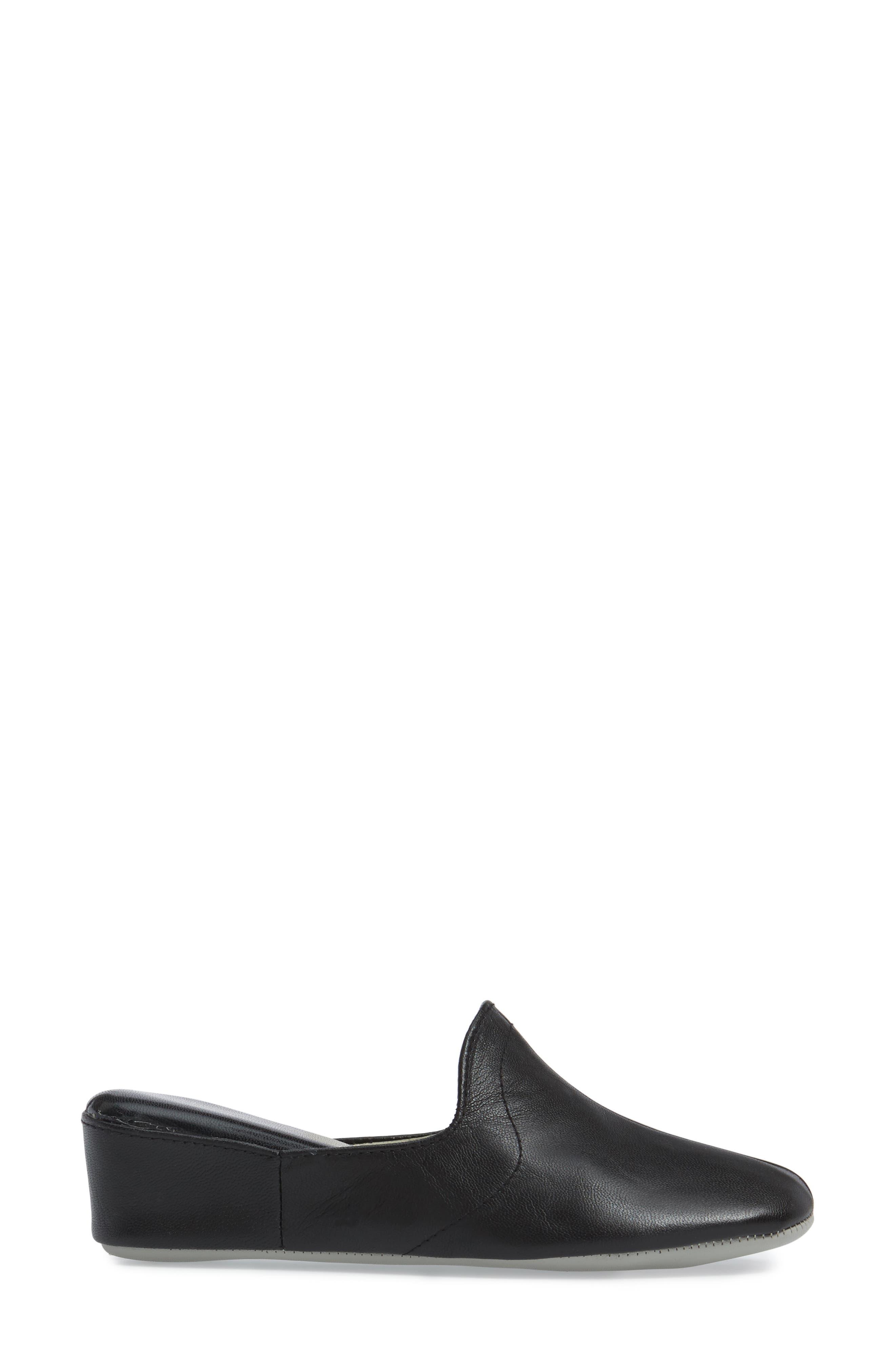 DANIEL GREEN, Glamour Scuff Slipper, Alternate thumbnail 3, color, BLACK LEATHER