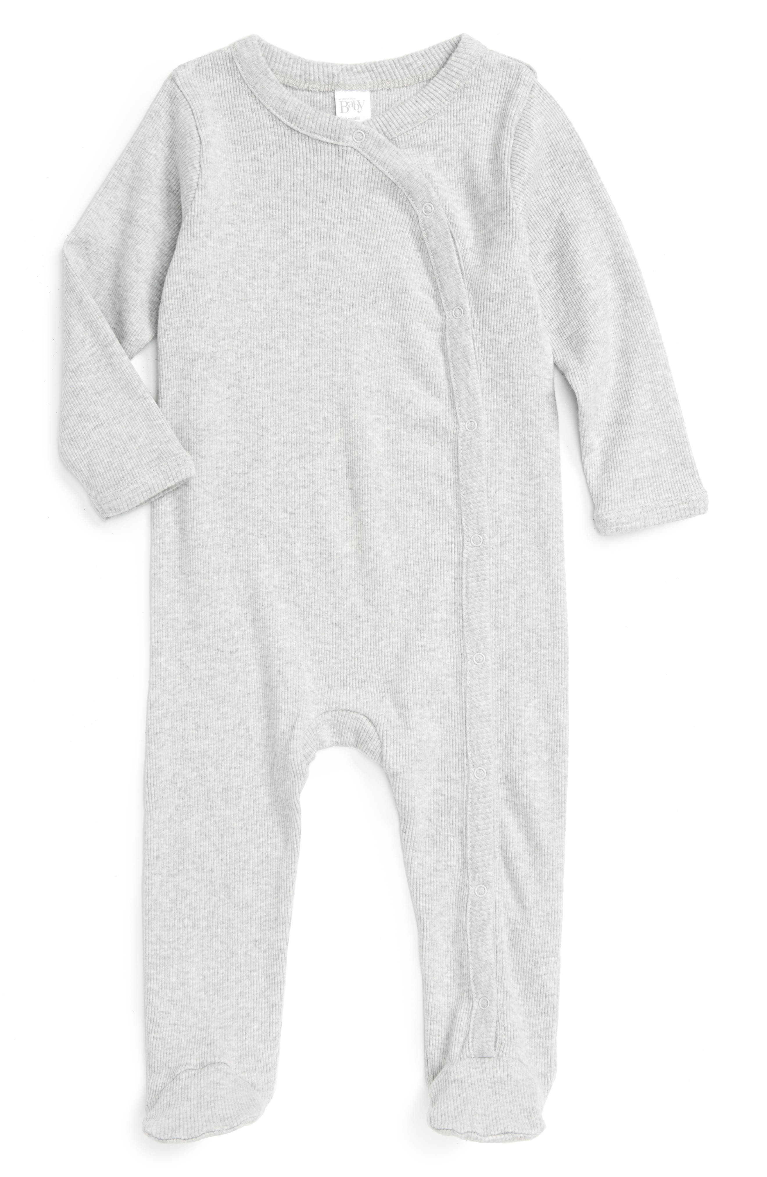 NORDSTROM BABY, Rib Knit Footie, Main thumbnail 1, color, GREY ASH HEATHER