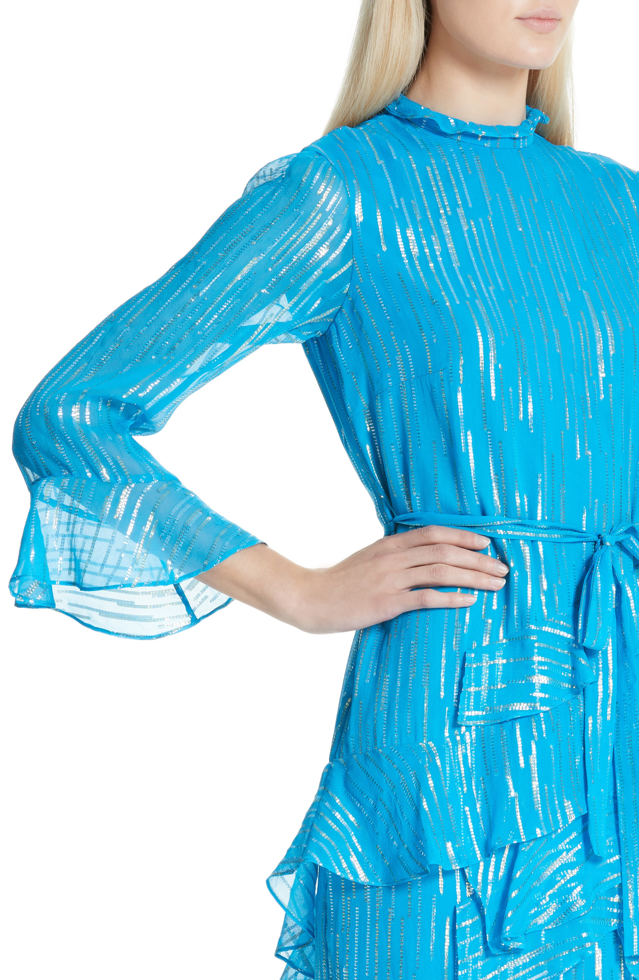 SALONI, Marissa Metallic Ruffle Dress, Alternate thumbnail 5, color, TURQUOISE/ METALLIC