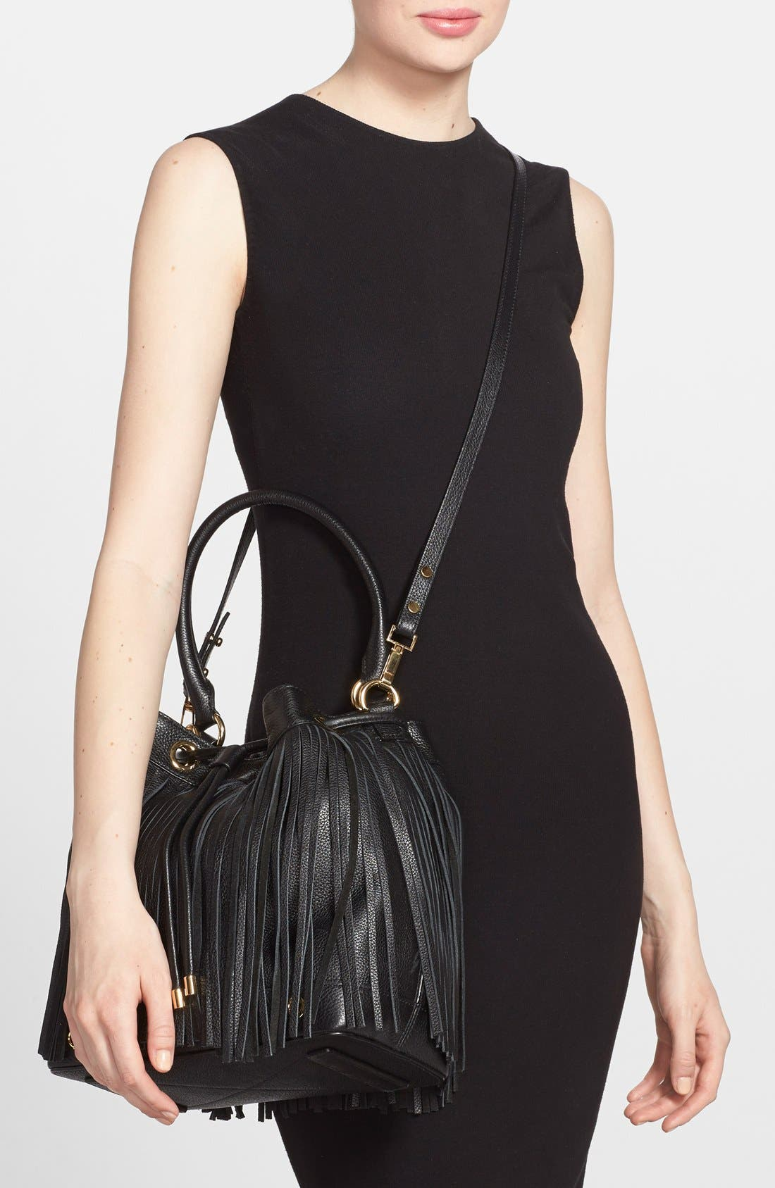MILLY, 'Essex' Fringed Leather Bucket Bag, Alternate thumbnail 2, color, 001