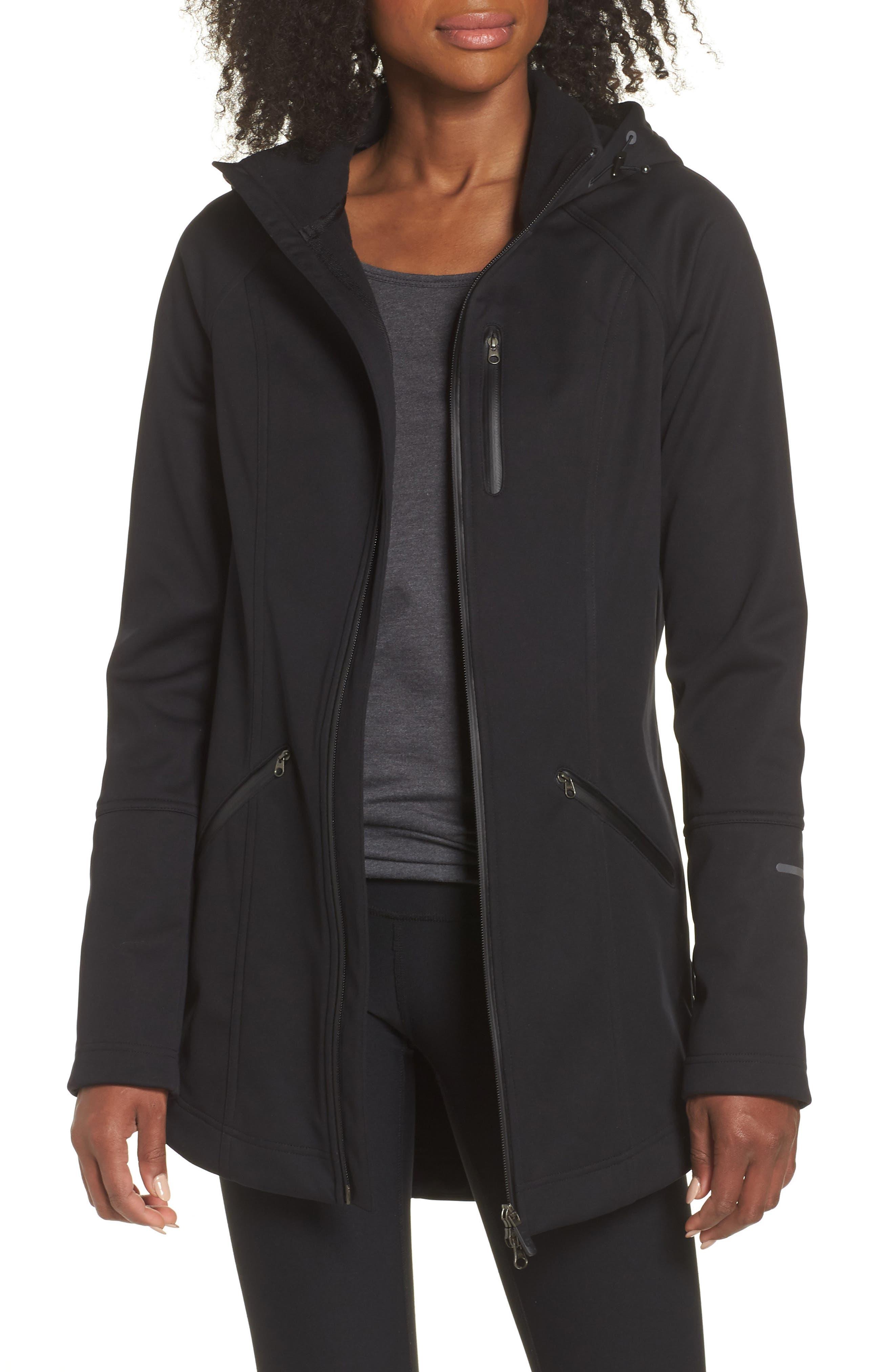 ZELLA Aero Hooded Soft Shell Training Jacket, Main, color, 001