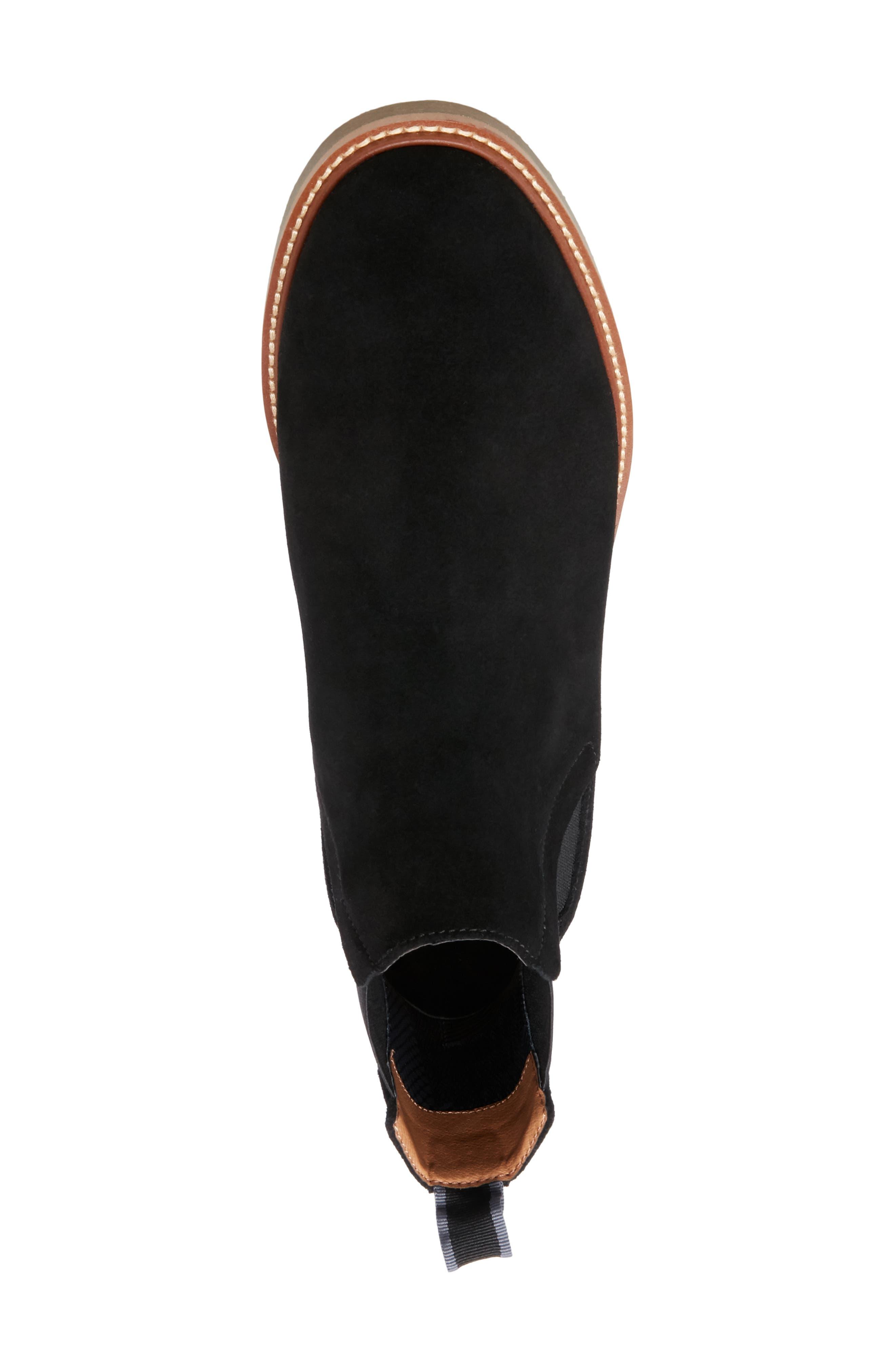 STEVE MADDEN, Highlyte Textured Chelsea Boot, Alternate thumbnail 5, color, BLACK SUEDE