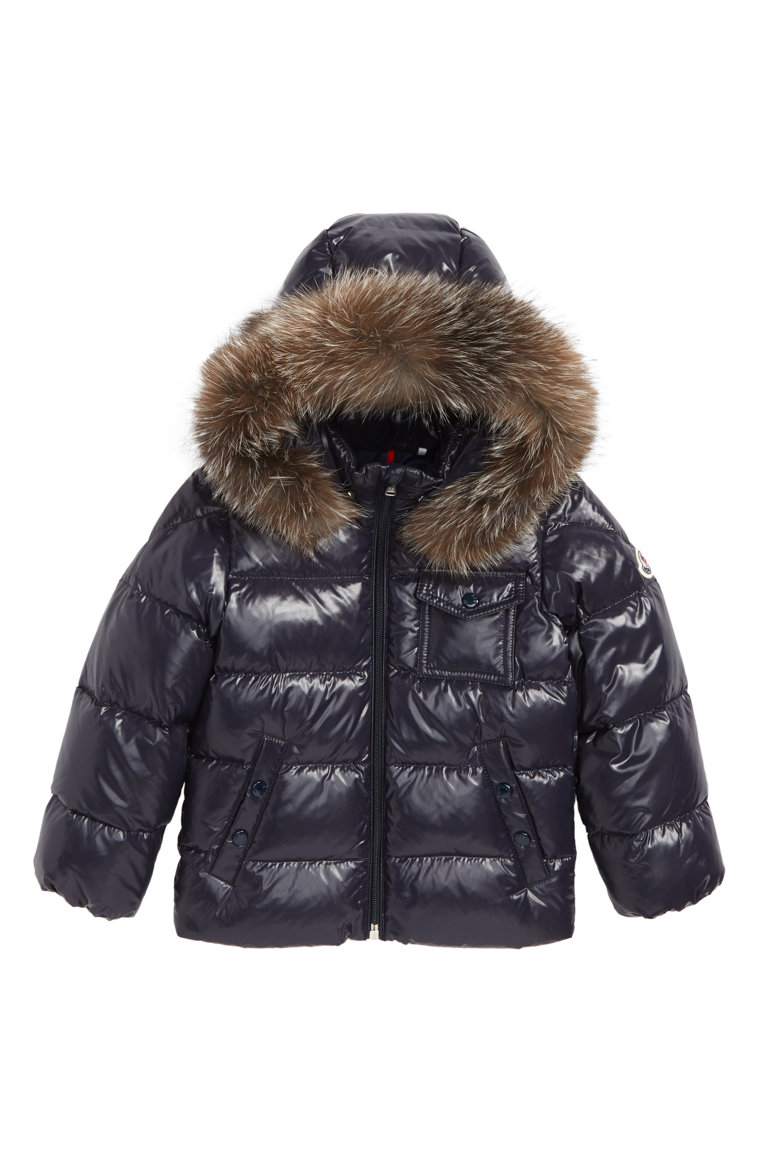 MONCLER, K2 Water Resistant Hooded Down Jacket with Genuine Fox Fur Trim, Main thumbnail 1, color, NAVY
