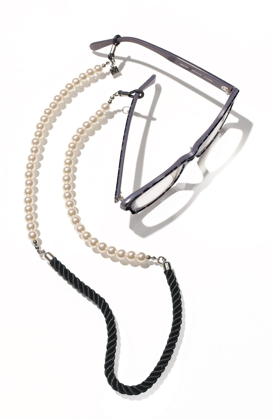 CORINNE MCCORMACK, 'Pearls' Eyewear Chain, Alternate thumbnail 3, color, PEARL/ BLACK