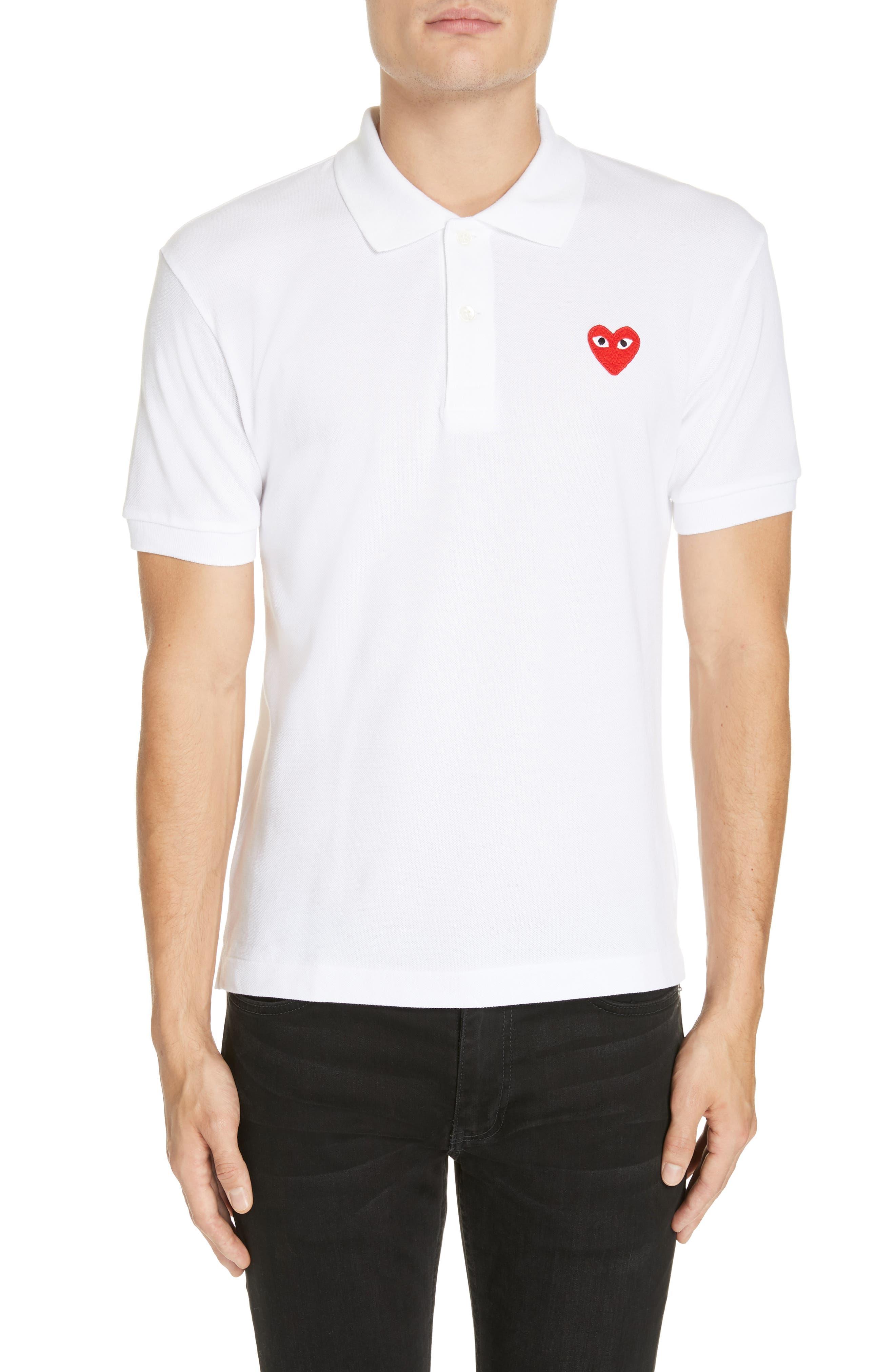 COMME DES GARÇONS PLAY Heart Logo Polo, Main, color, WHITE