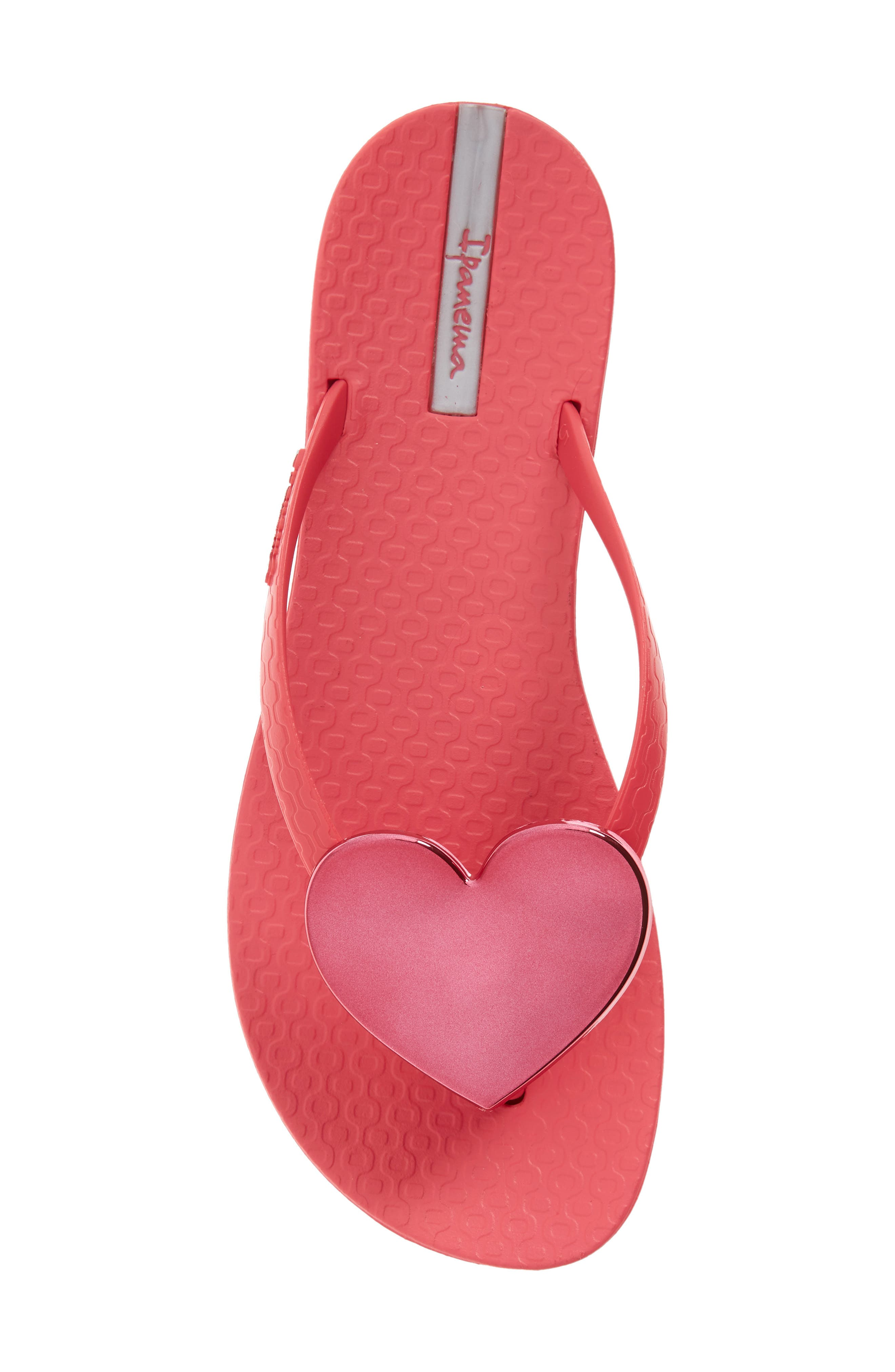 IPANEMA, Wave Heart Flip Flop, Alternate thumbnail 5, color, PINK/ RED