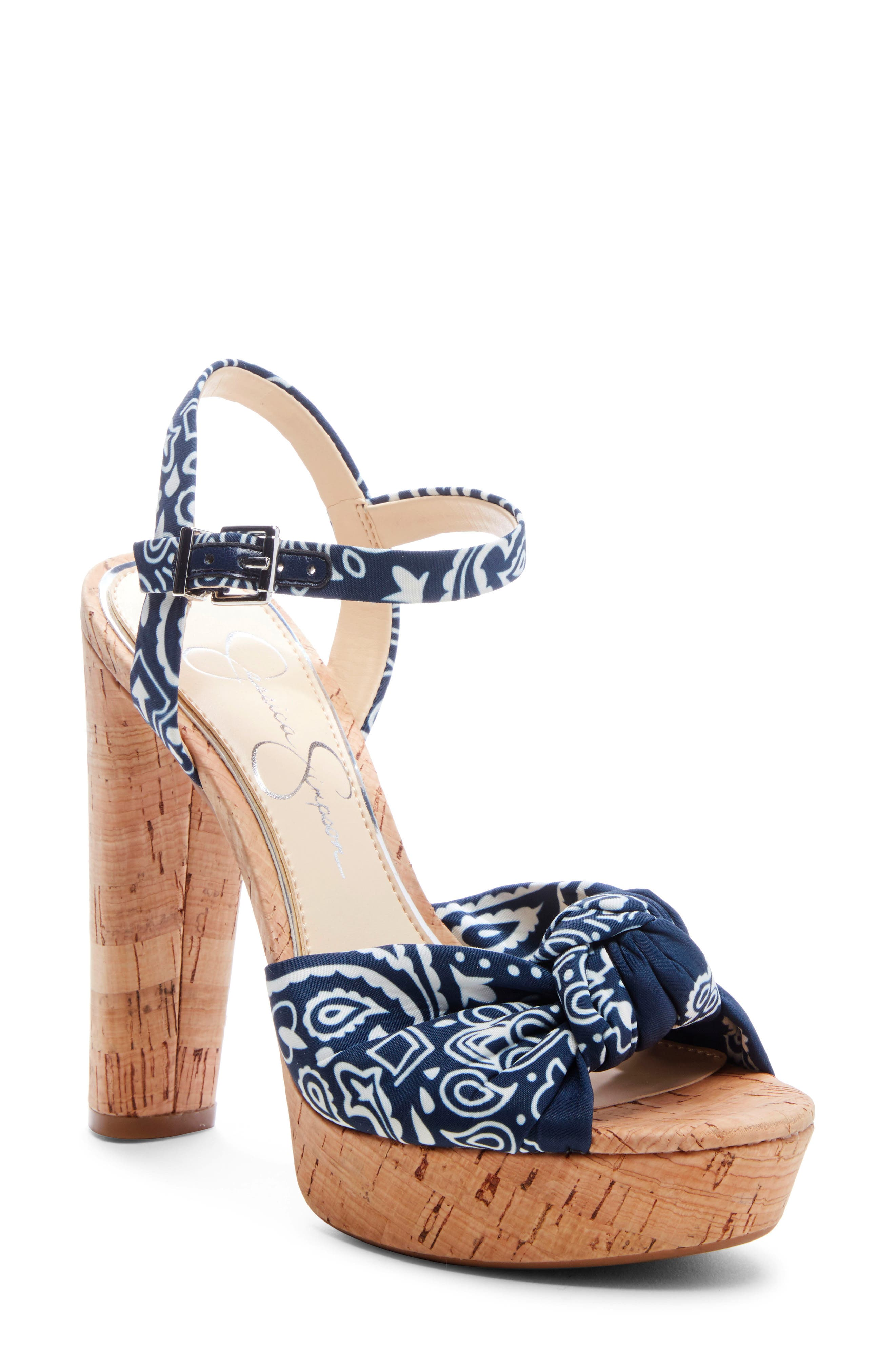 Jessica Simpson Ivrey Knot Platform Sandal, Blue