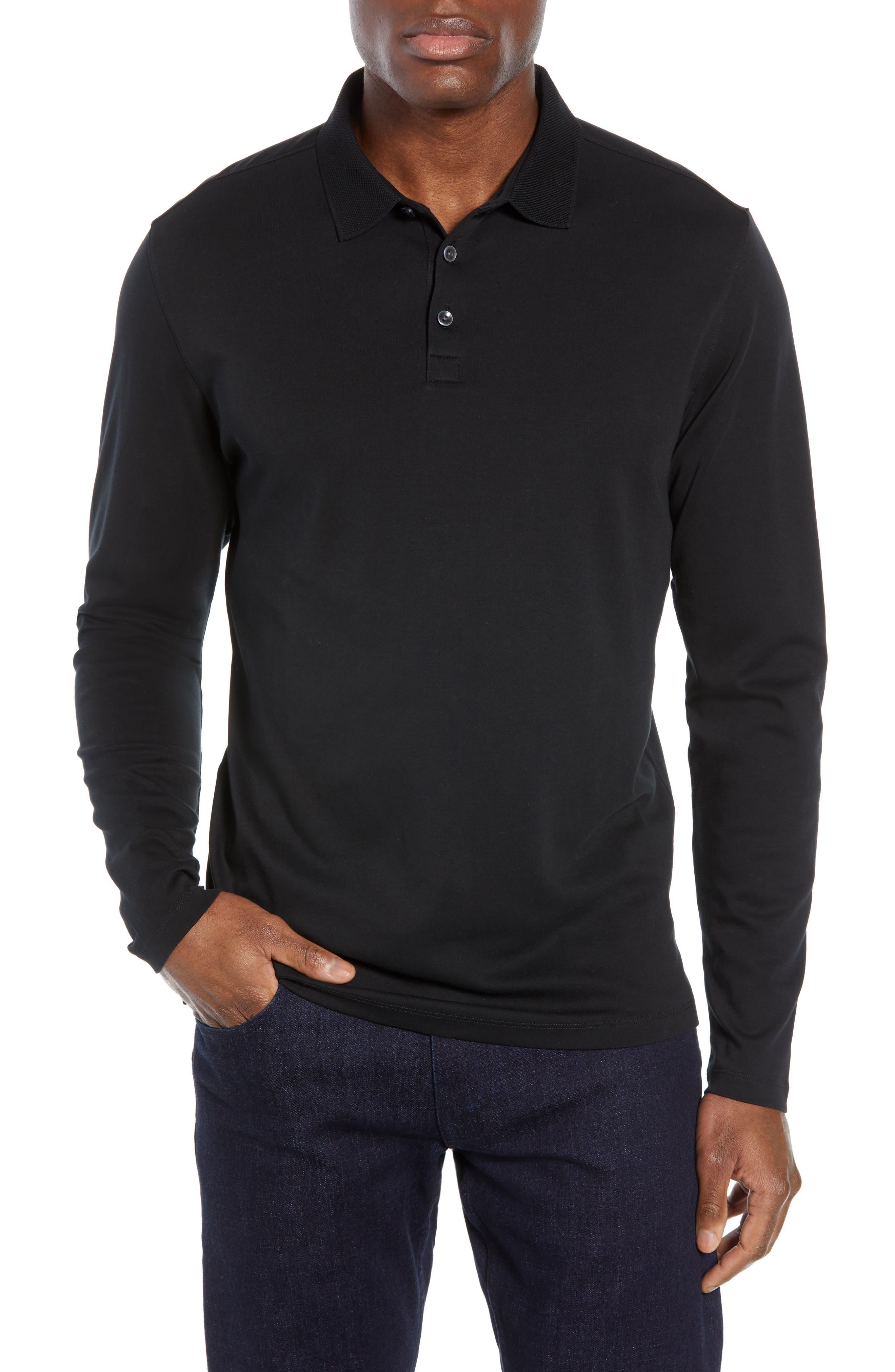 ROBERT BARAKETT, Batiste Long Sleeve Polo, Main thumbnail 1, color, BLACK