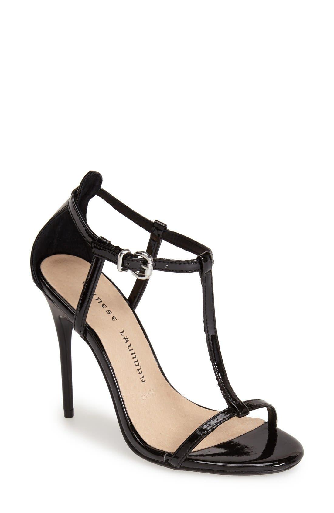 CHINESE LAUNDRY, 'Leo' Patent T-Strap Sandal, Main thumbnail 1, color, 001
