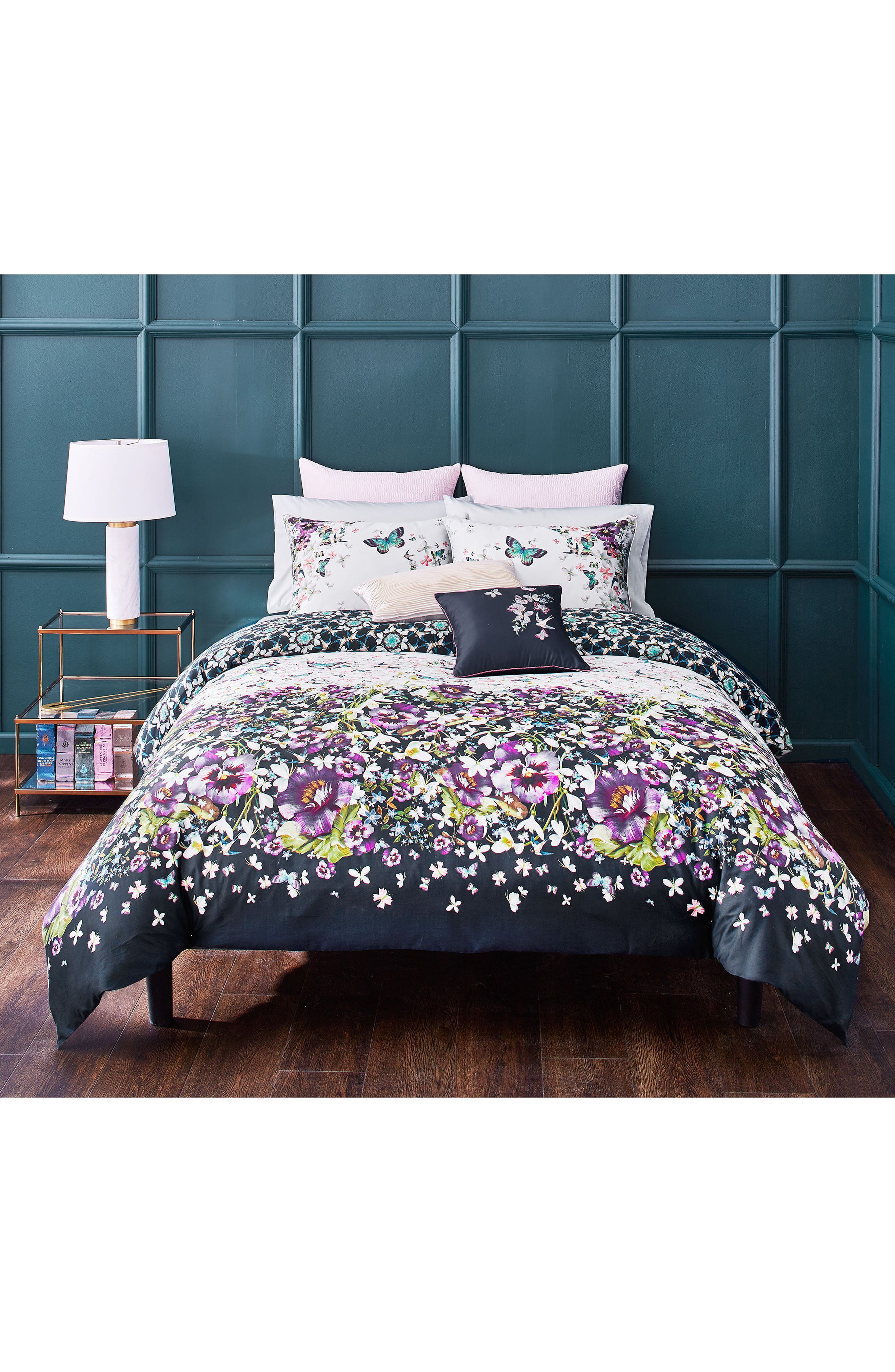TED BAKER LONDON, Entangled Enchantment Comforter & Sham Set, Main thumbnail 1, color, SKY