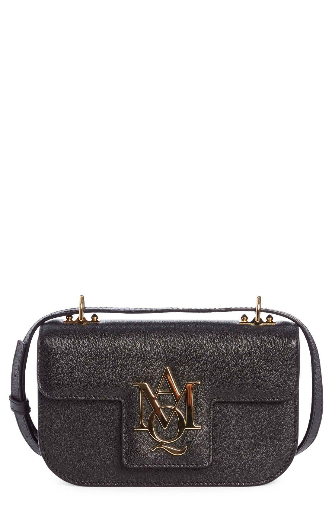 ALEXANDER MCQUEEN, 'Small Insignia' Calfskin Leather Crossbody Satchel, Main thumbnail 1, color, 001