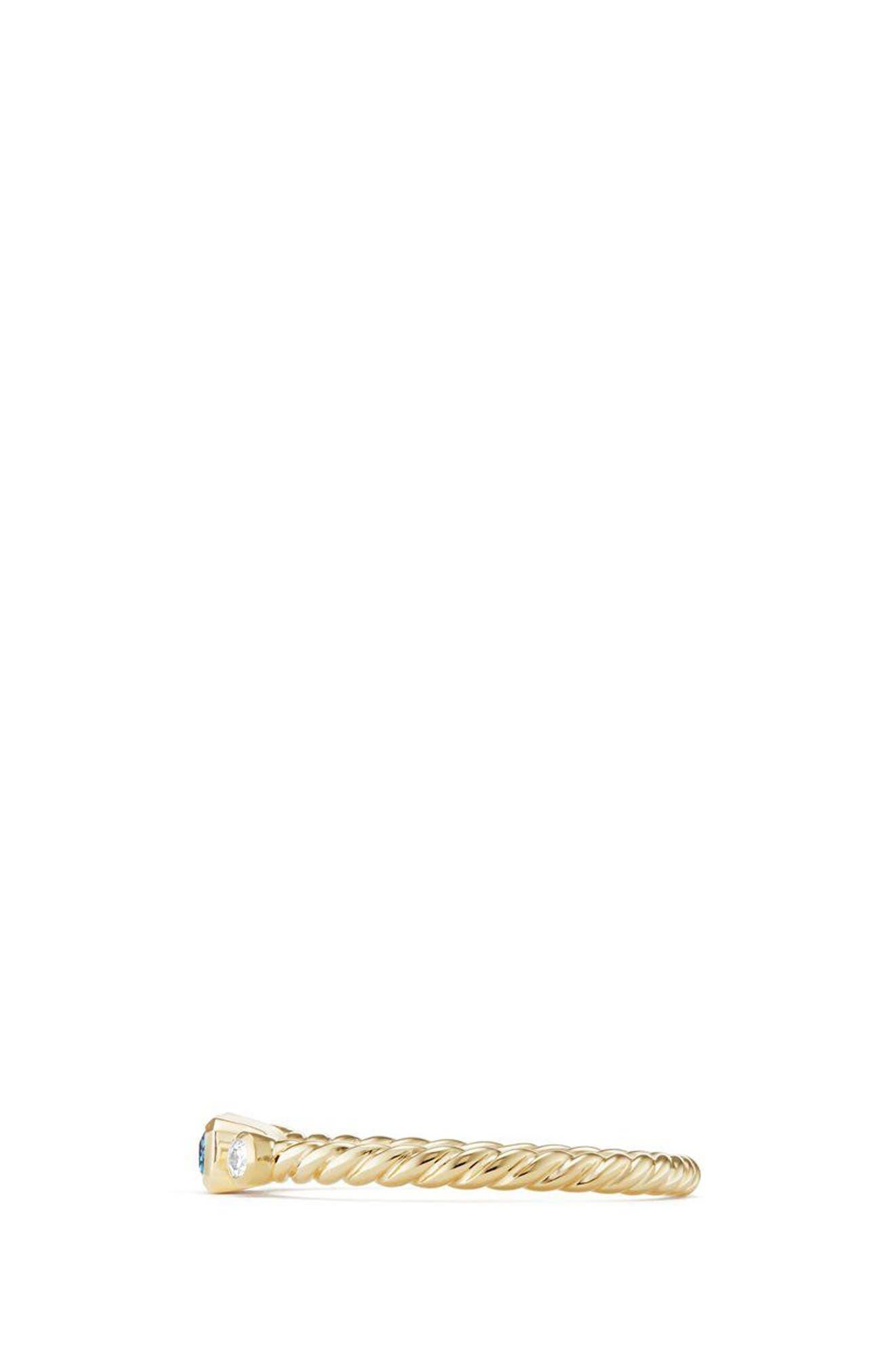 DAVID YURMAN, Novella Ring in 18K Gold, Alternate thumbnail 2, color, GOLD/ DIAMOND/ BLUE TOPAZ