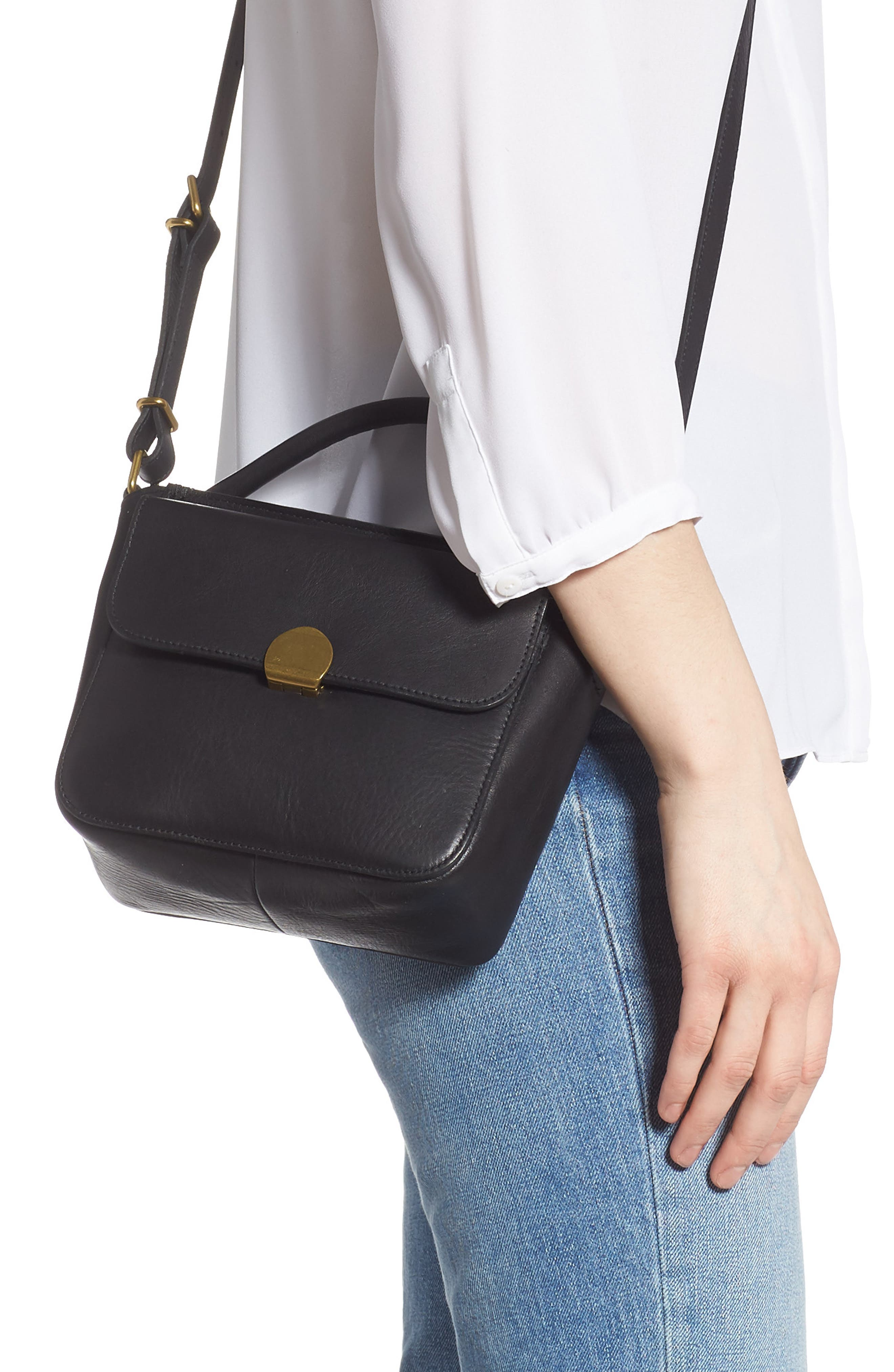 MADEWELL, The Mini Abroad Leather Crossbody Bag, Alternate thumbnail 2, color, TRUE BLACK
