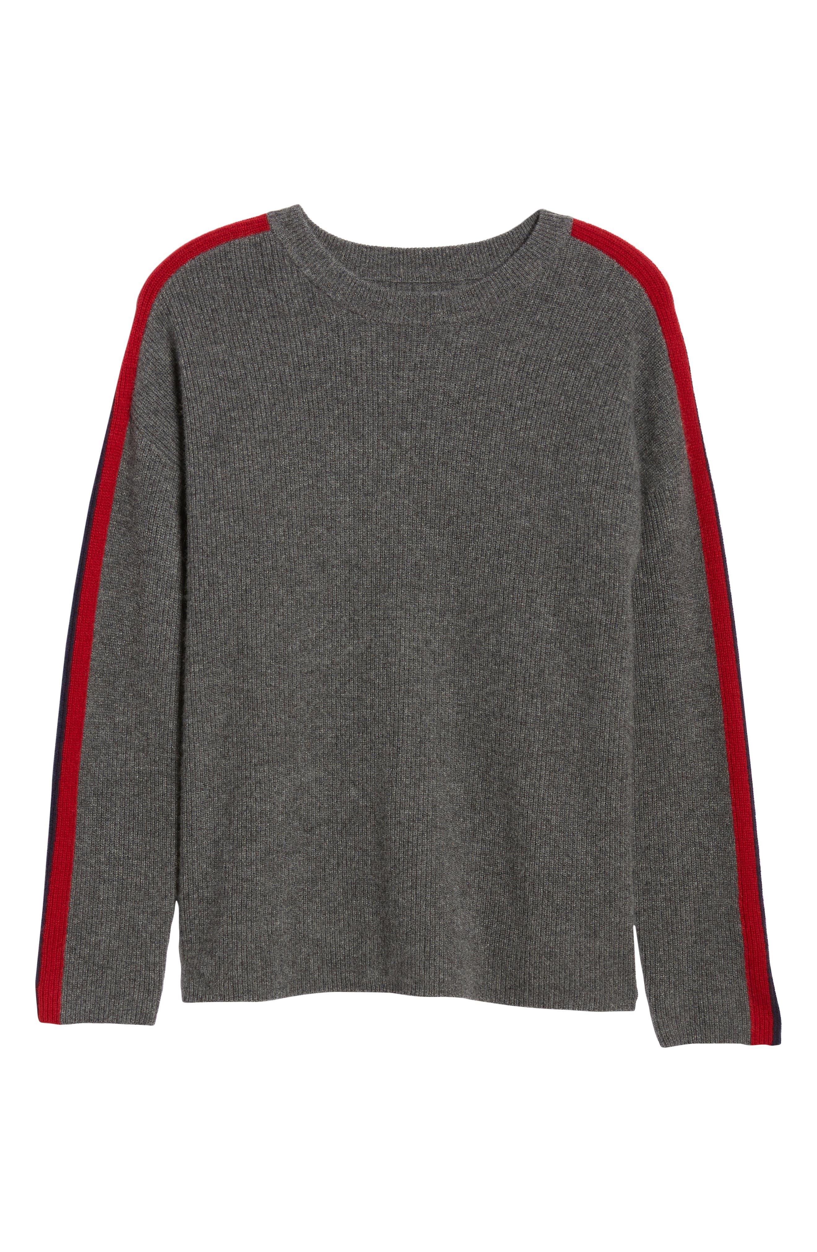 VELVET BY GRAHAM & SPENCER, Stripe Sleeve Cashmere Sweater, Alternate thumbnail 6, color, DARK GREY