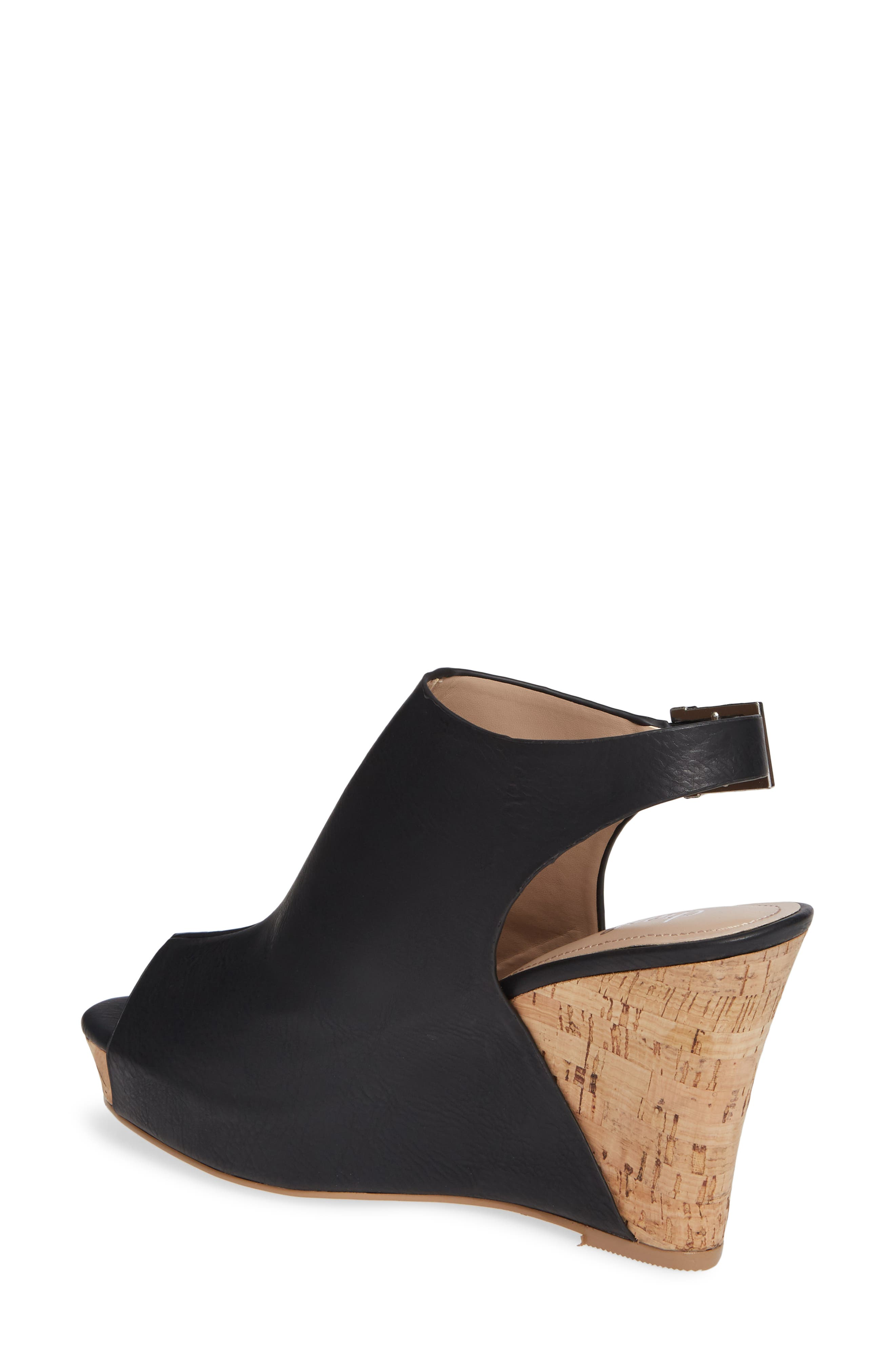 CHARLES BY CHARLES DAVID, Lobby Slingback Wedge Sandal, Alternate thumbnail 2, color, BLACK FAUX LEATHER
