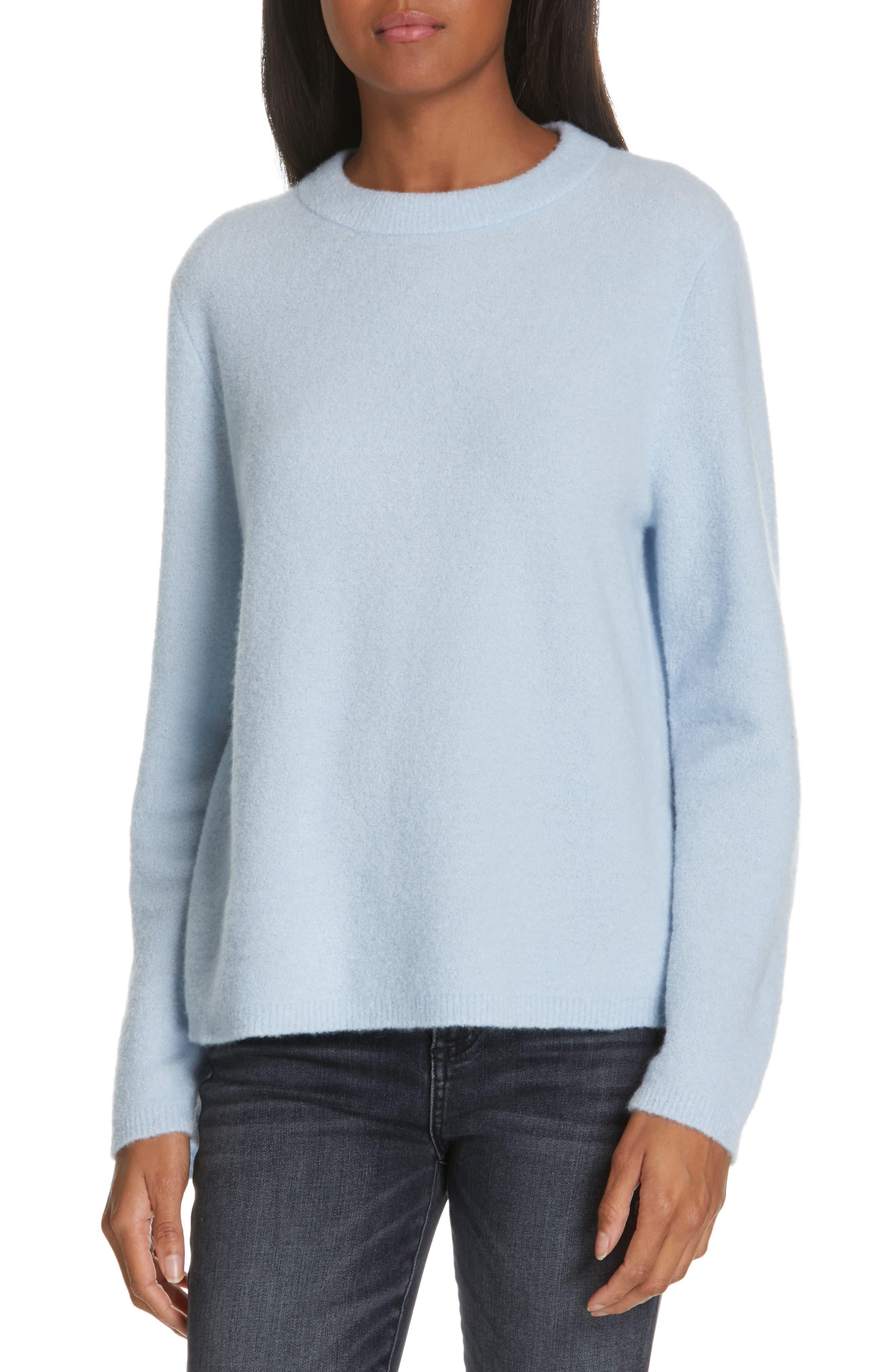 NORDSTROM SIGNATURE, Cashmere Blend Bouclé Sweater, Main thumbnail 1, color, BLUE CASHMERE