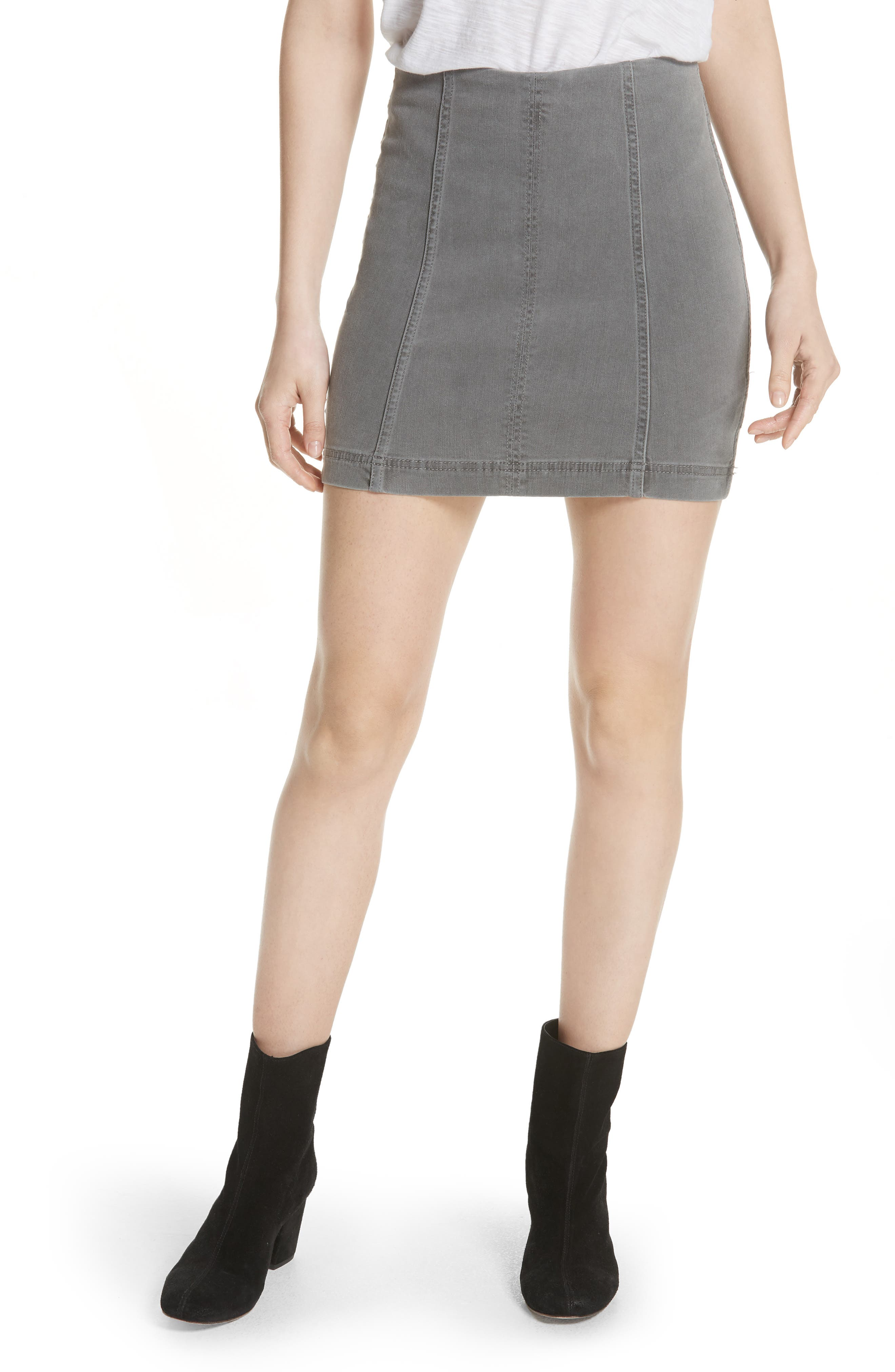 FREE PEOPLE, We the Free by Free People Modern Femme Denim Miniskirt, Main thumbnail 1, color, LIGHT GREY