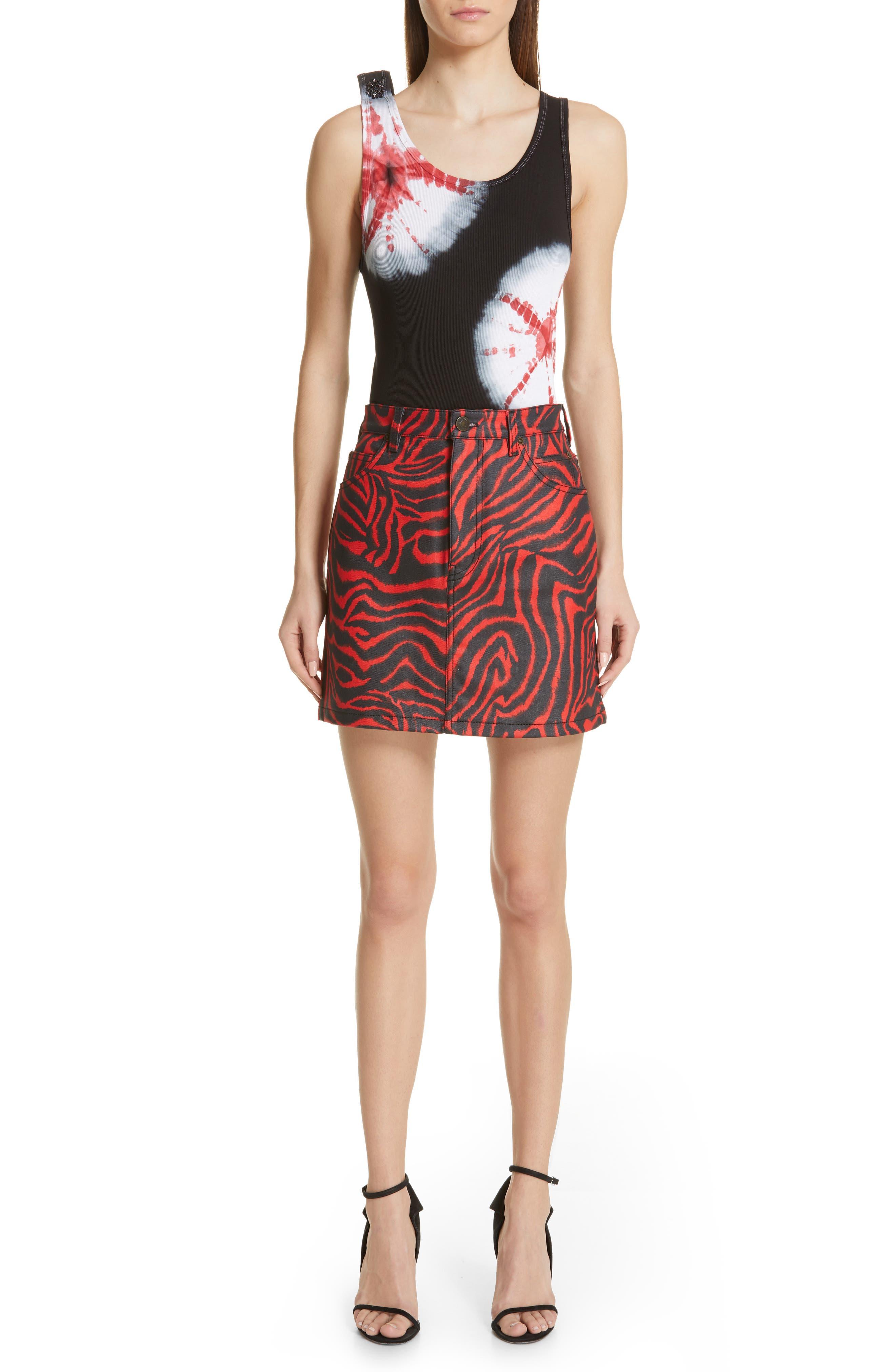 CALVIN KLEIN 205W39NYC, Zebra Print Denim Skirt, Alternate thumbnail 7, color, RED ZEBRA