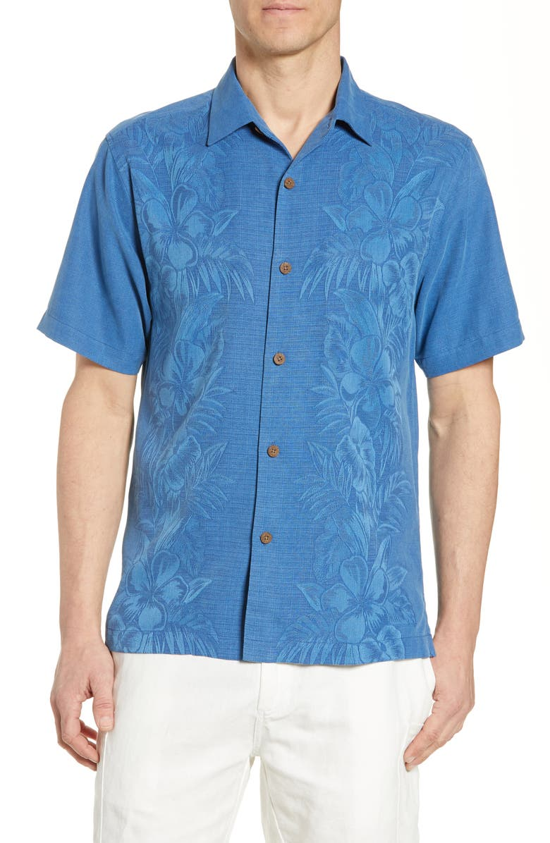 Tommy Bahama T-shirts KAMARI BORDER CLASSIC FIT SILK CAMP SHIRT