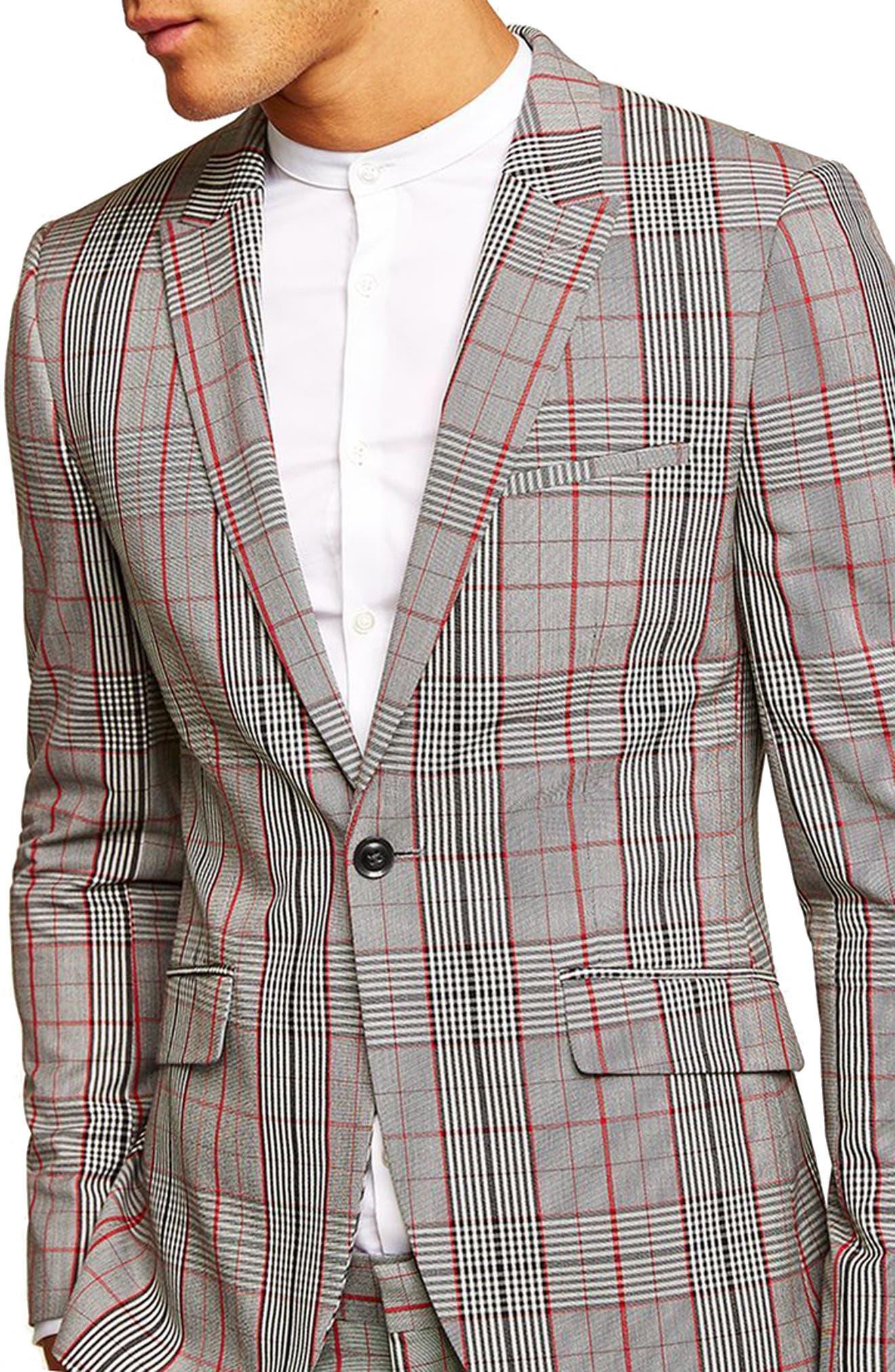 TOPMAN, Muscle Fit Check Suit Jacket, Main thumbnail 1, color, 020