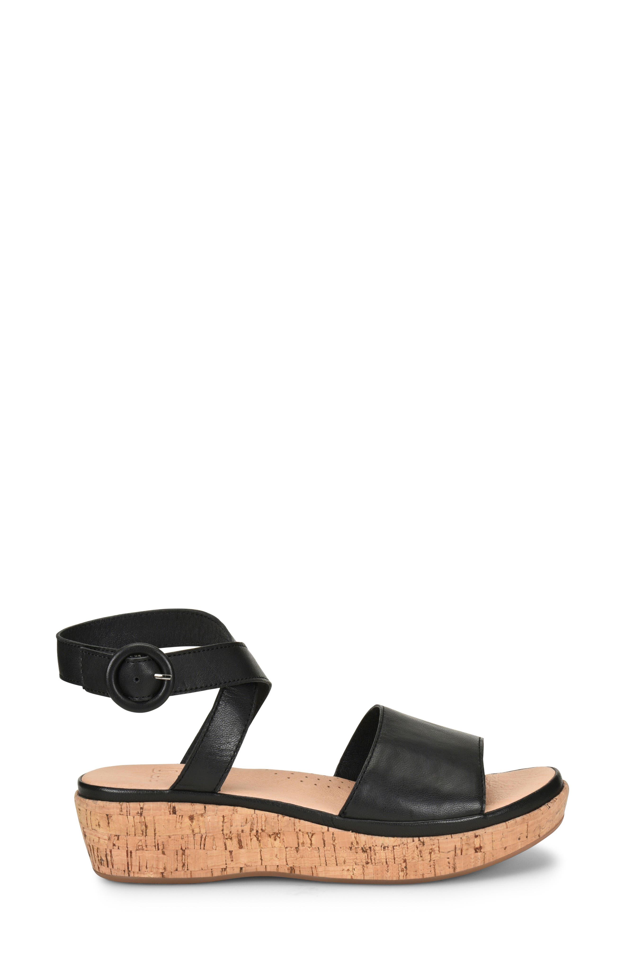 ONO, Dreamy Platform Wedge Sandal, Alternate thumbnail 3, color, BLACK LEATHER