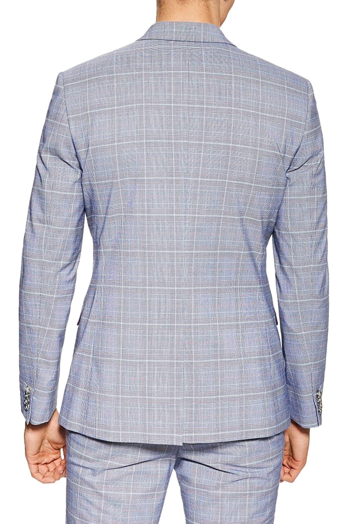 TOPMAN, Skinny Fit Suit Jacket, Alternate thumbnail 2, color, BLUE MULTI