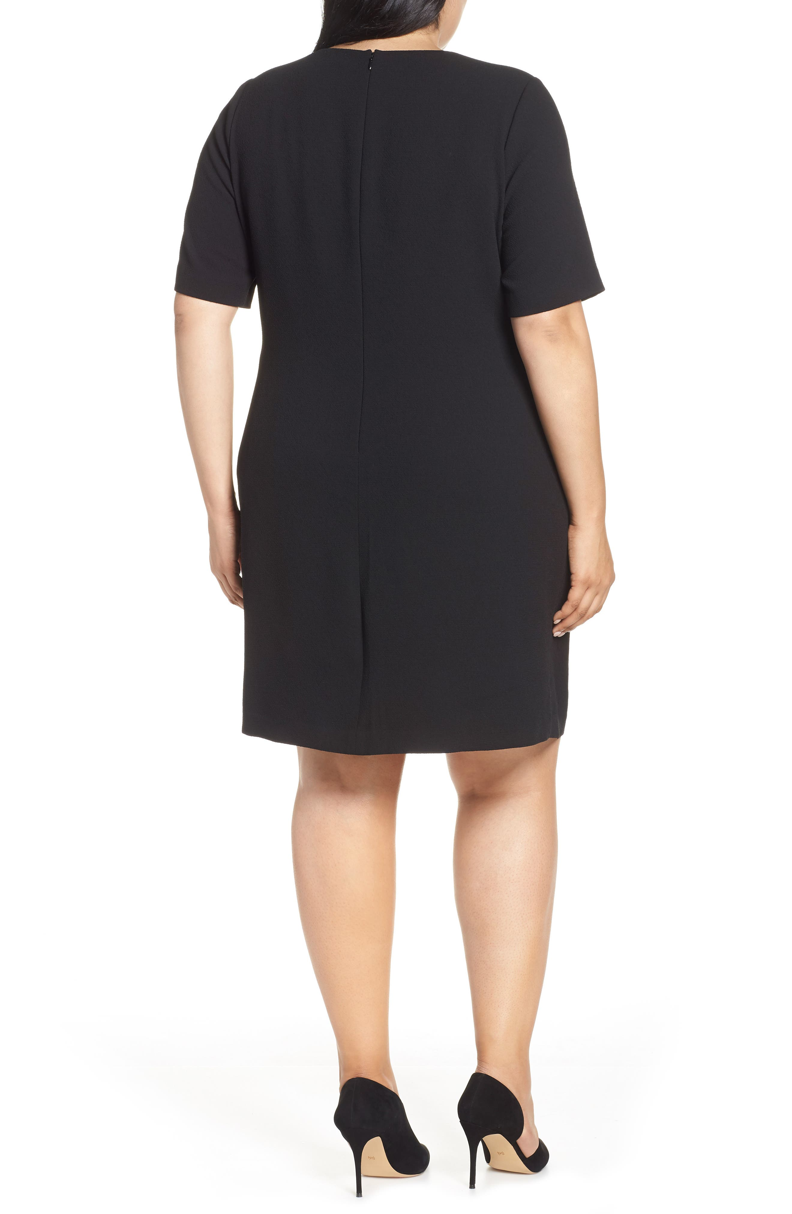VINCE CAMUTO, Belt Parisian Crepe Dress, Alternate thumbnail 2, color, RICH BLACK