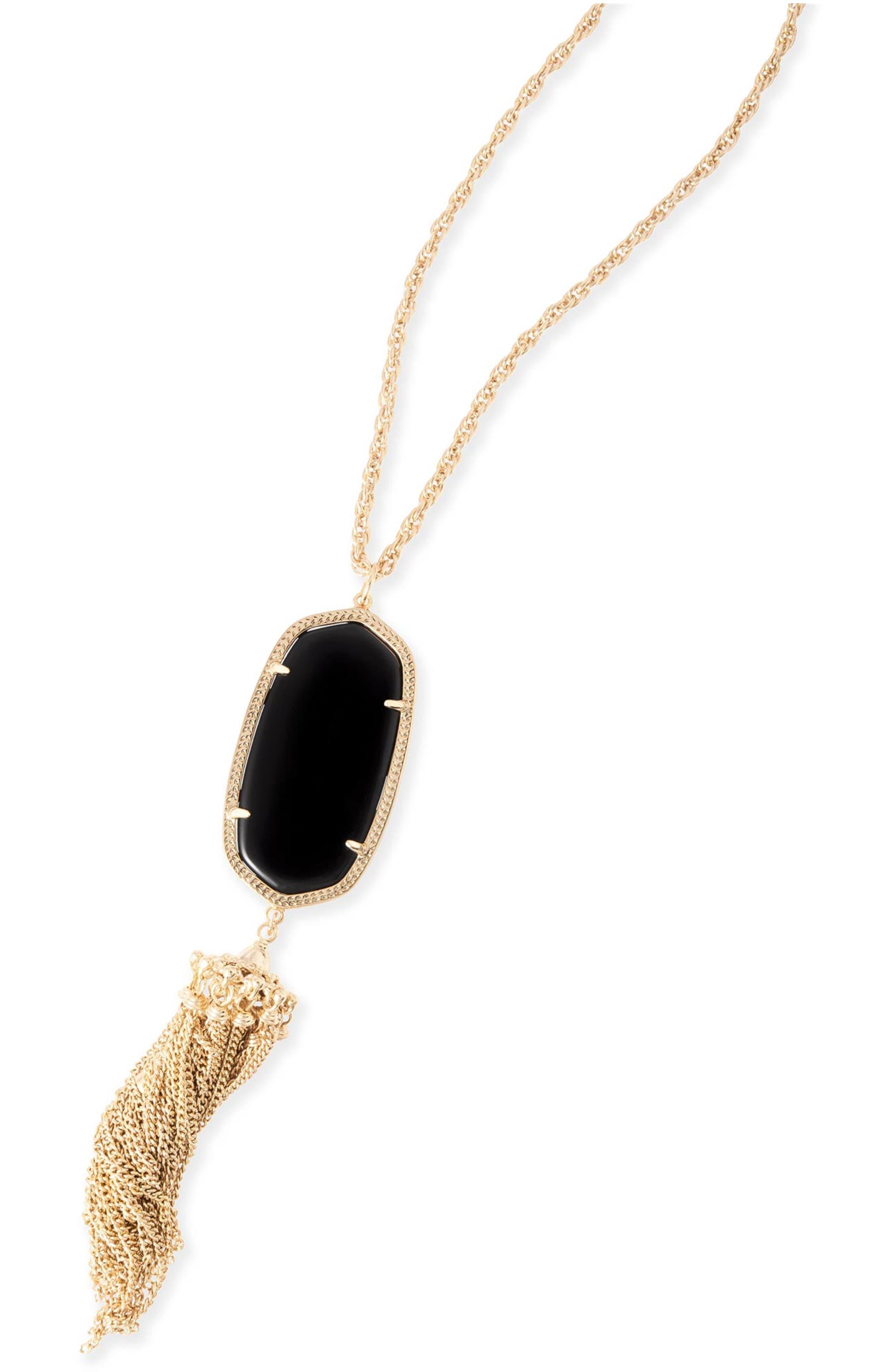 KENDRA SCOTT, Rayne Stone Tassel Pendant Necklace, Alternate thumbnail 4, color, 001