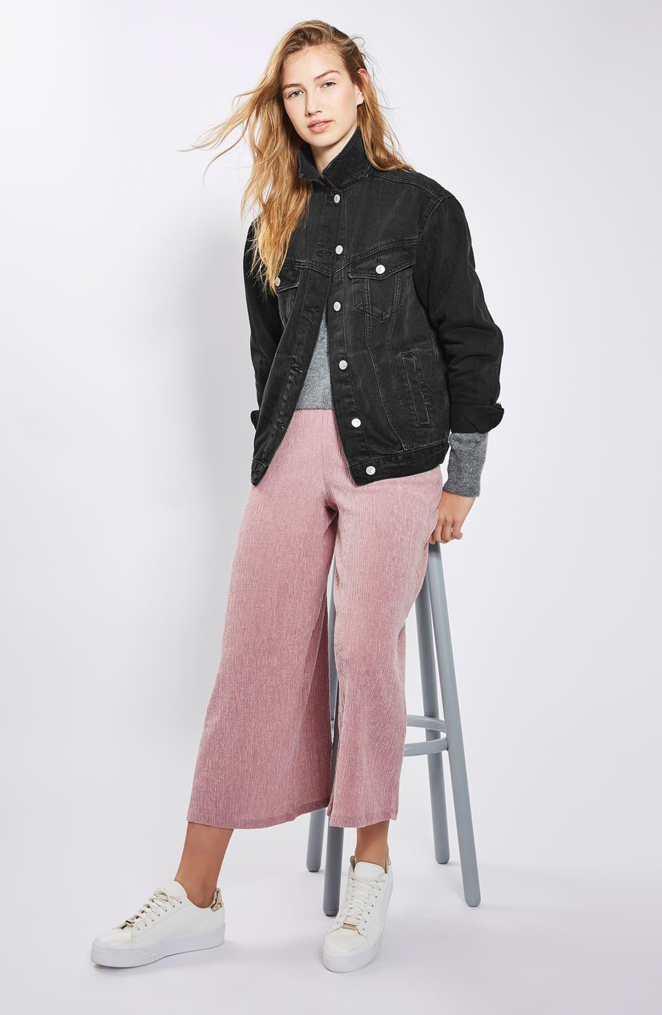 TOPSHOP, Oversize Denim Jacket, Alternate thumbnail 6, color, WASHED BLACK