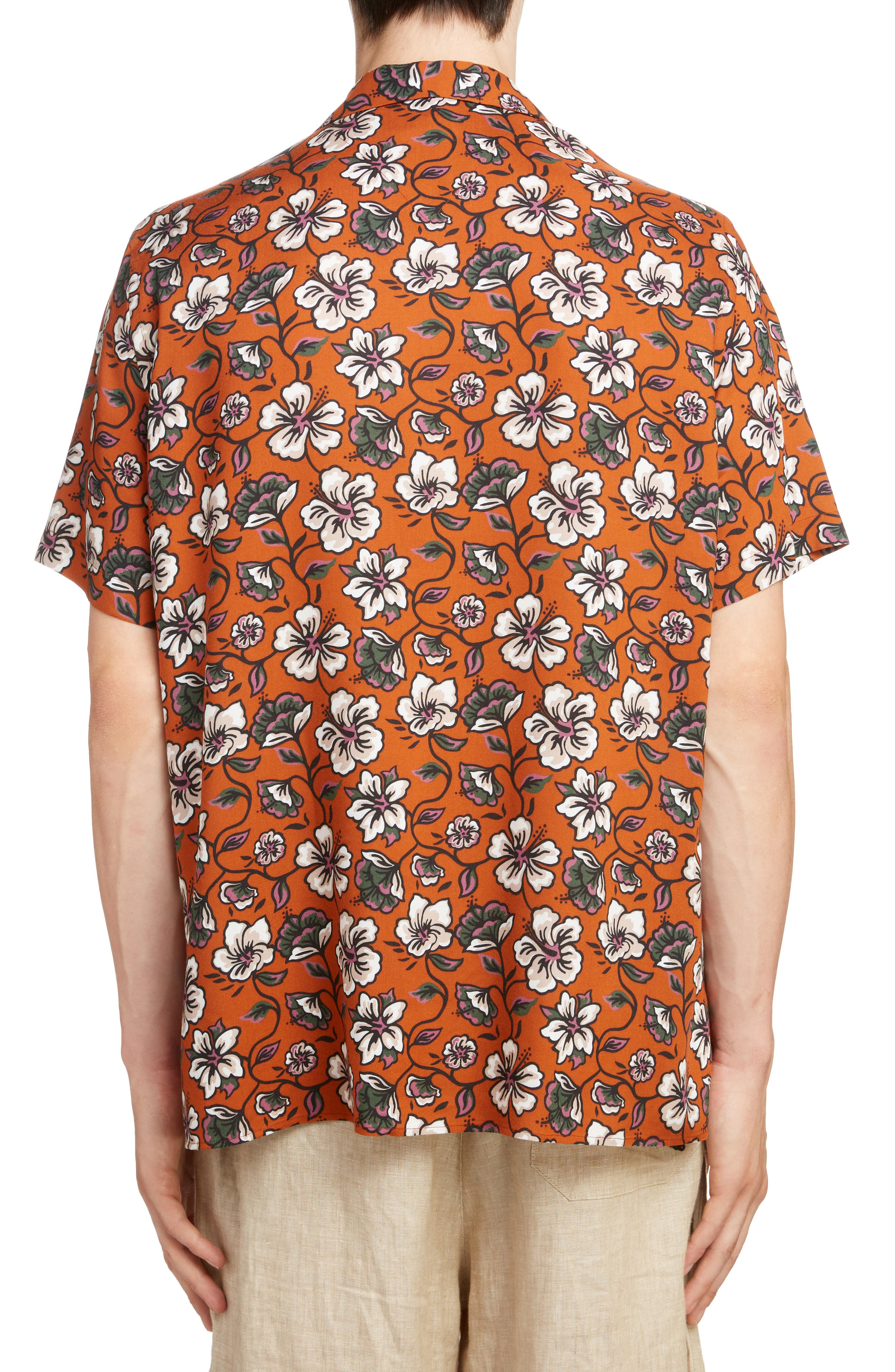 LOEWE, Floral Print Camp Shirt, Alternate thumbnail 3, color, 2103-WHITE/ BROWN