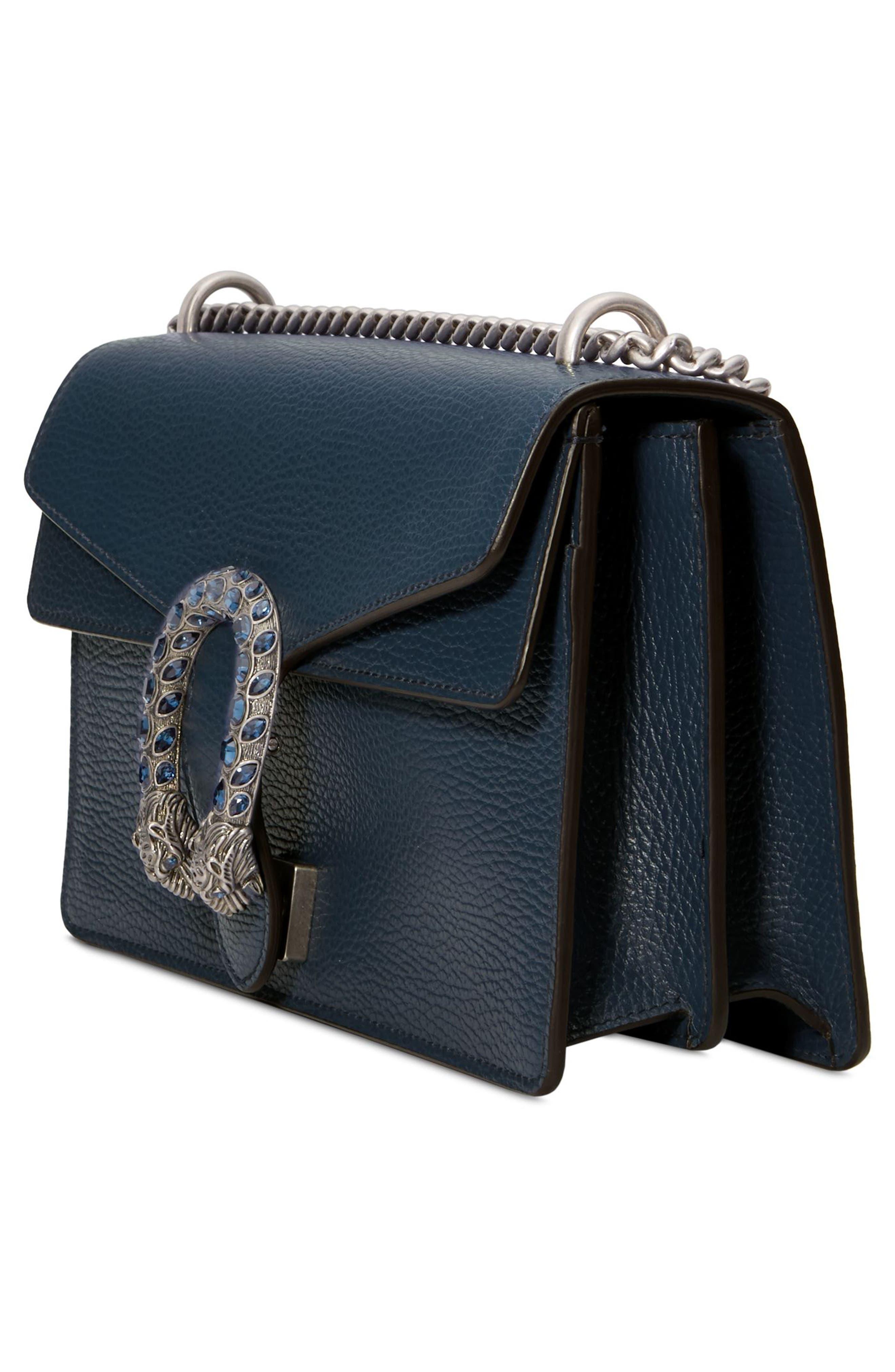 GUCCI, Small Dionysus Leather Shoulder Bag, Alternate thumbnail 4, color, BLU AGATA/ MONTANA