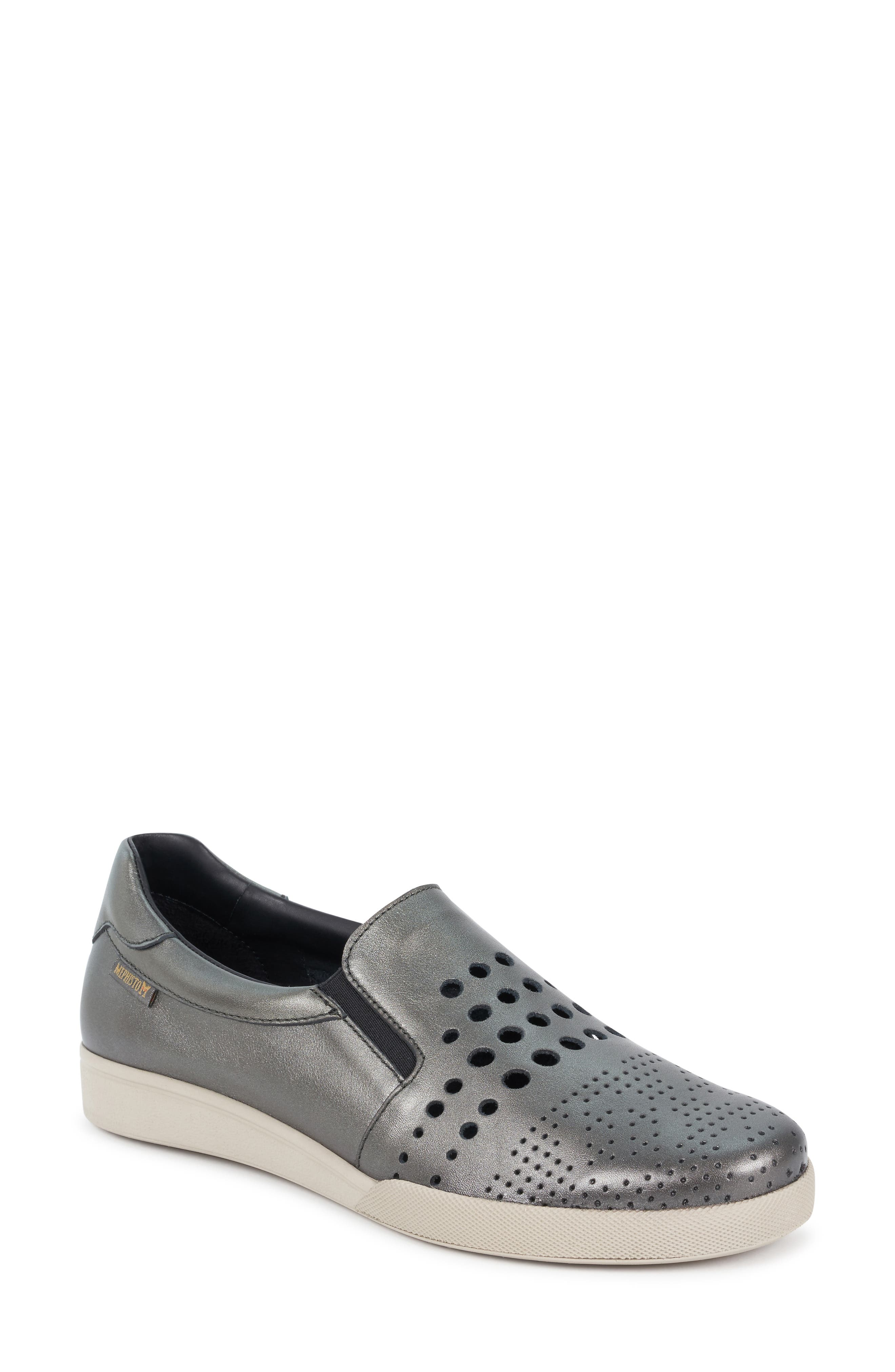 MEPHISTO, Doroty Perforated Slip-On Sneaker 9, Main thumbnail 1, color, DARK GREY