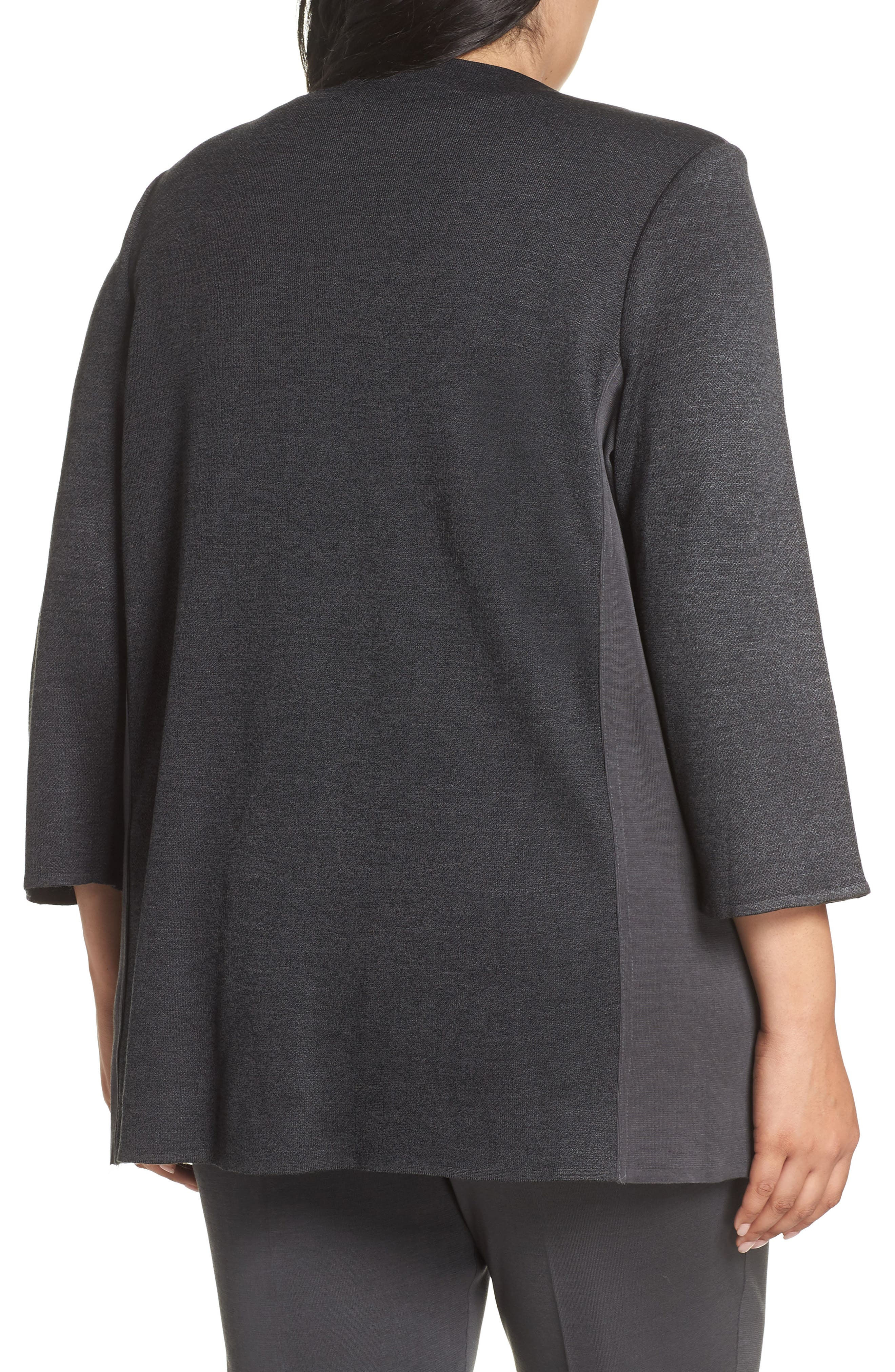 MING WANG, Colorblock Knit Jacket, Alternate thumbnail 2, color, BLACK/ GRANITE