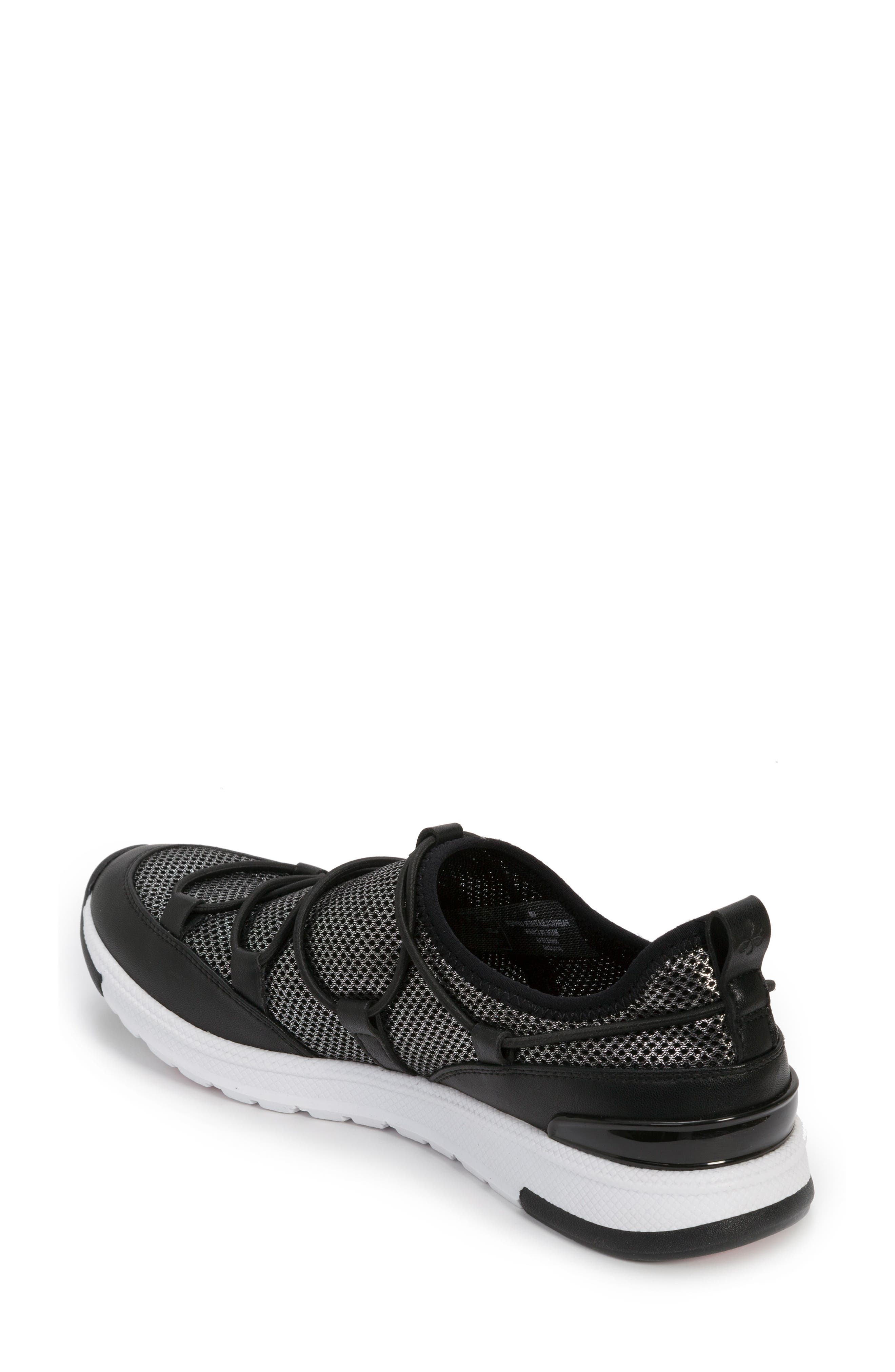 FOOT PETALS, Bree Sneaker, Alternate thumbnail 2, color, BLACK/ PEWTER
