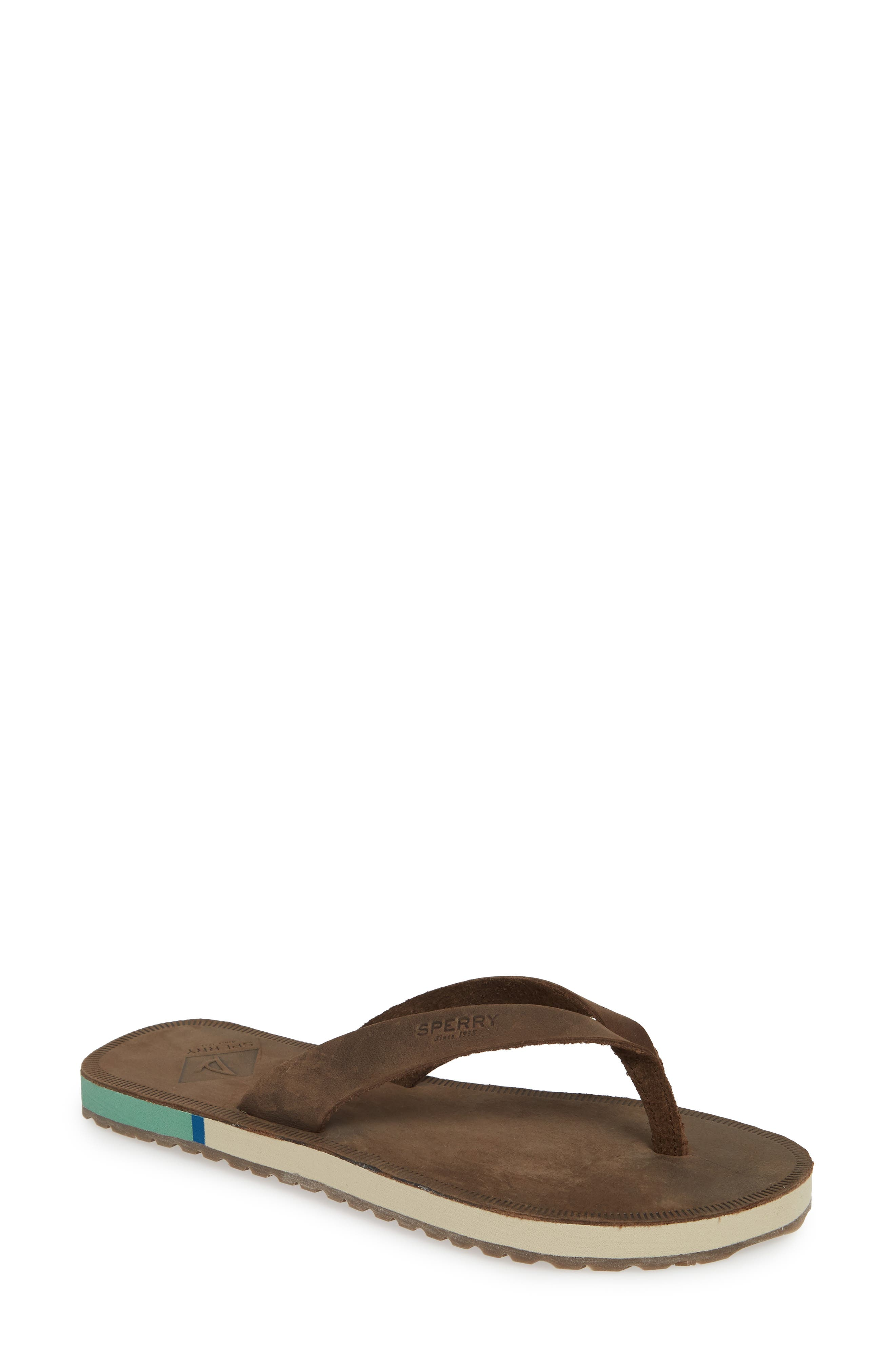 SPERRY Wharf Flip Flop, Main, color, CHOCOLATE LEATHER