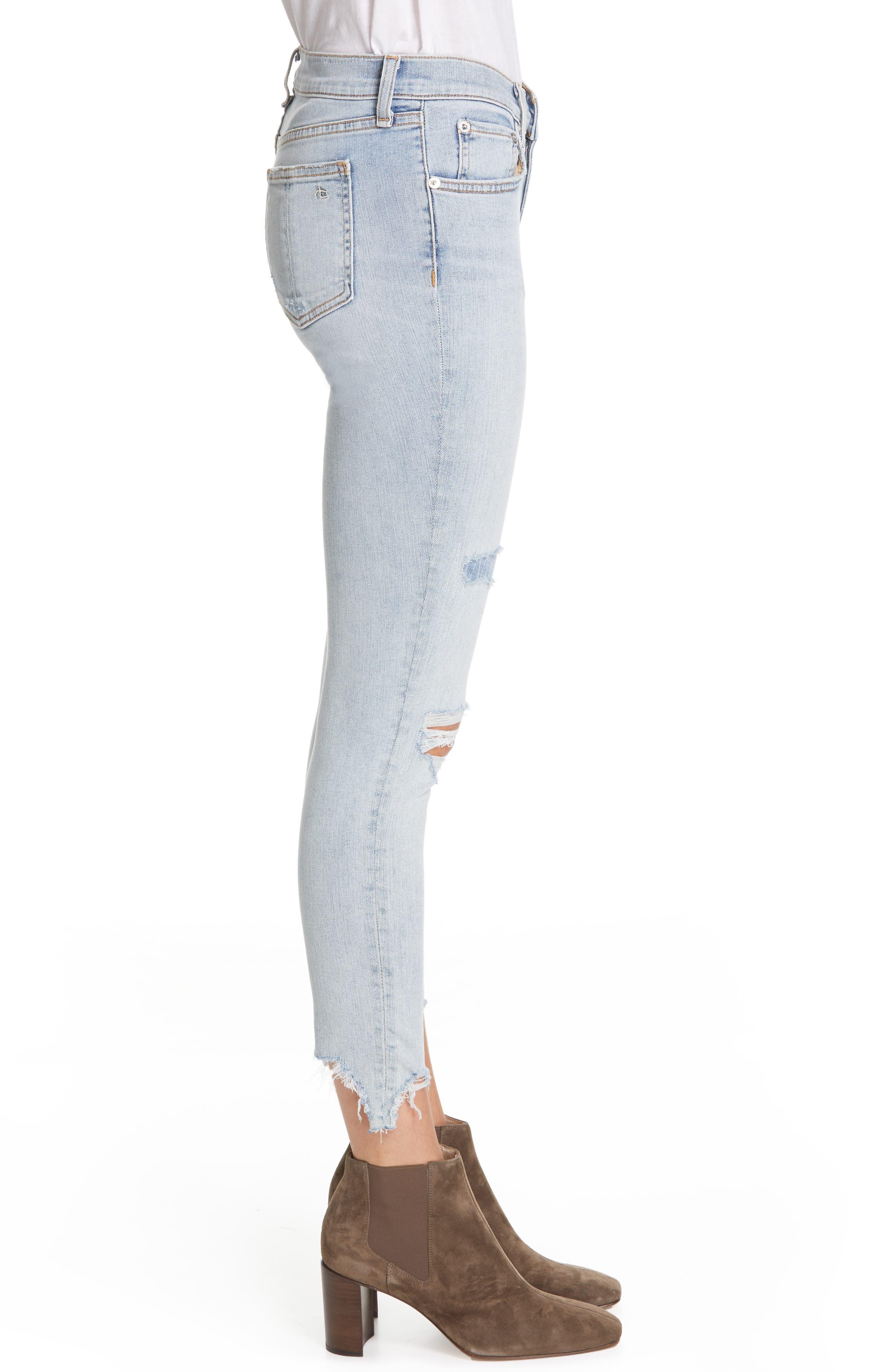 RAG & BONE, JEAN Ripped Ankle Skinny Jeans, Alternate thumbnail 4, color, 450