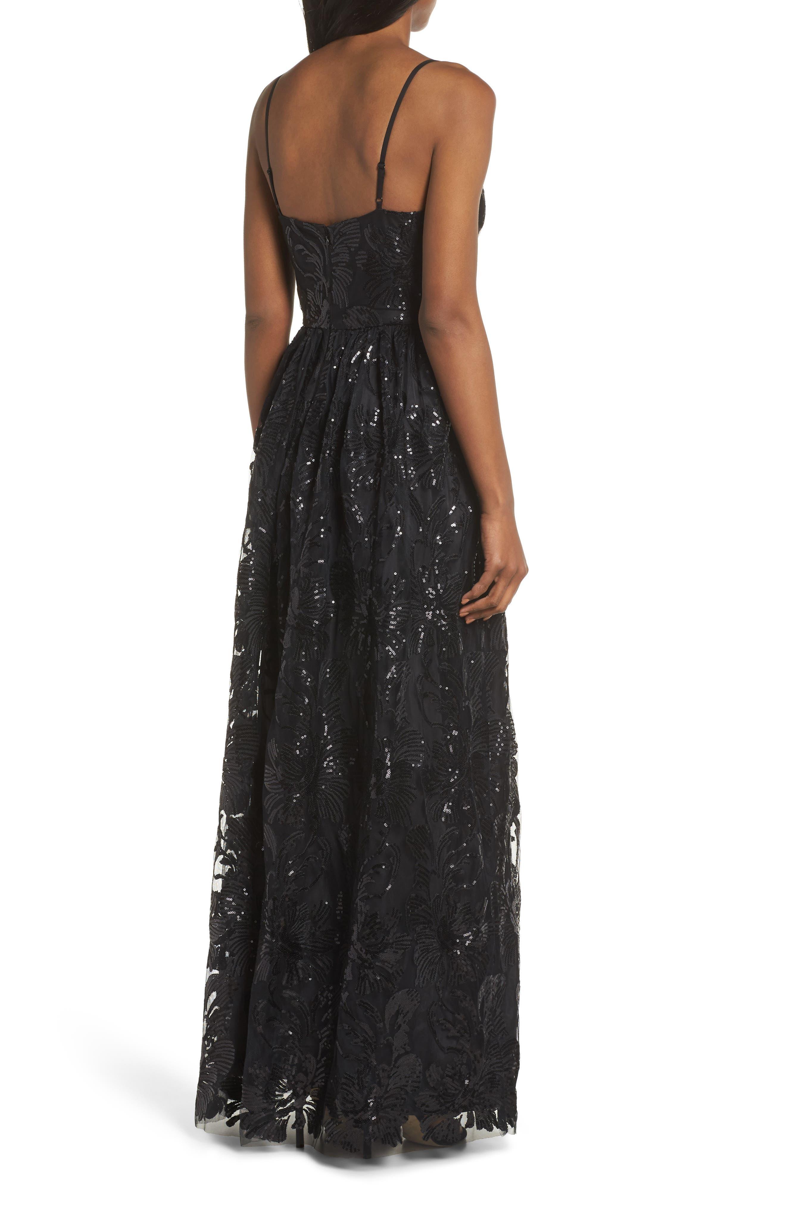 ELIZA J, Sequin Embroidered Mesh Evening Dress, Alternate thumbnail 2, color, BLACK