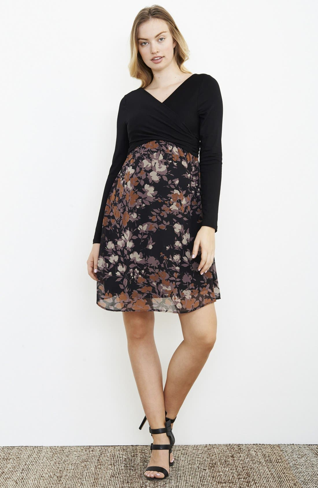MATERNAL AMERICA Crossover Maternity Dress, Main, color, BLACK/ LILAC FLORAL PRINT
