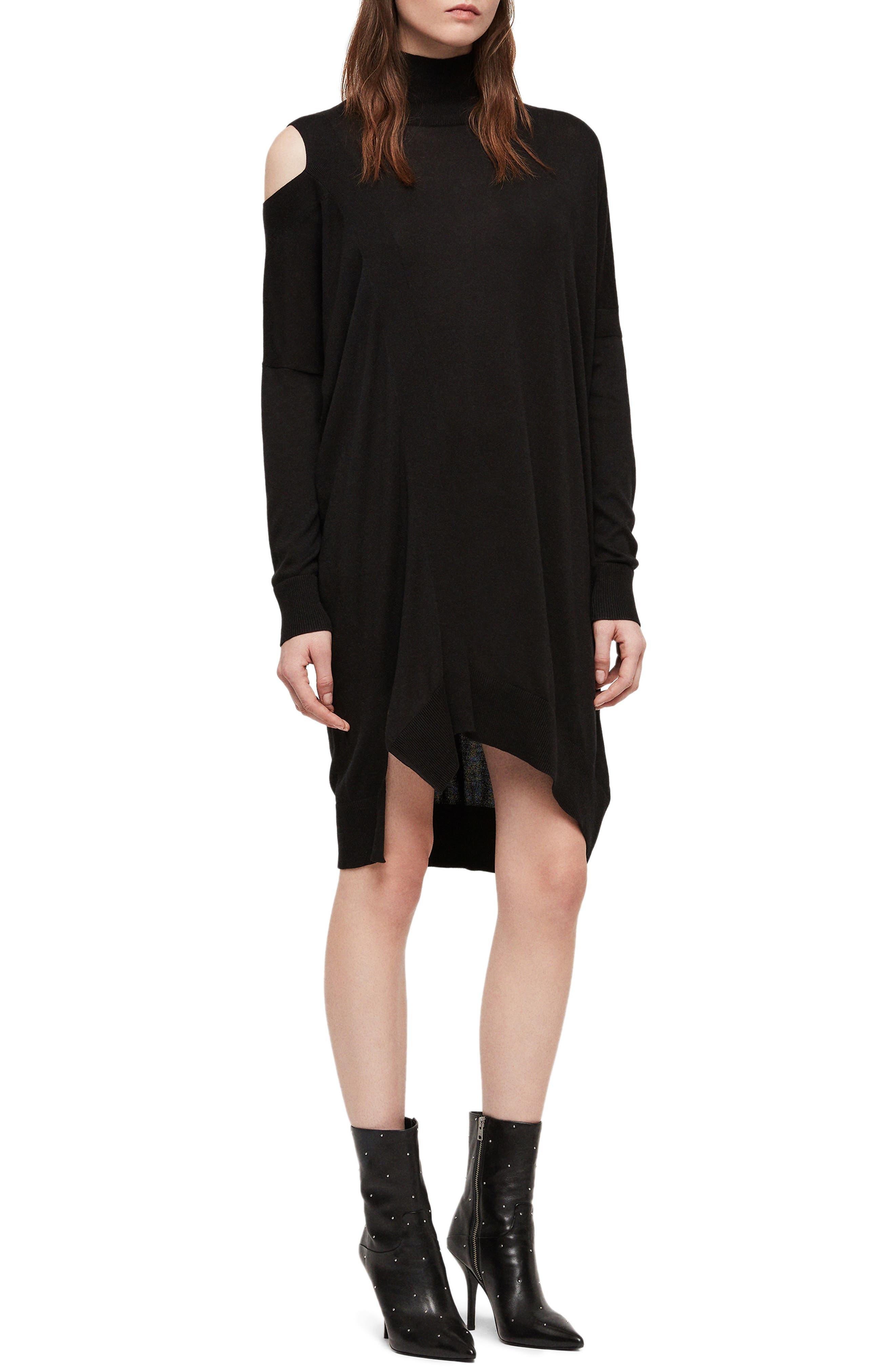 ALLSAINTS Cecily Turtleneck Sweater Dress, Main, color, BLACK