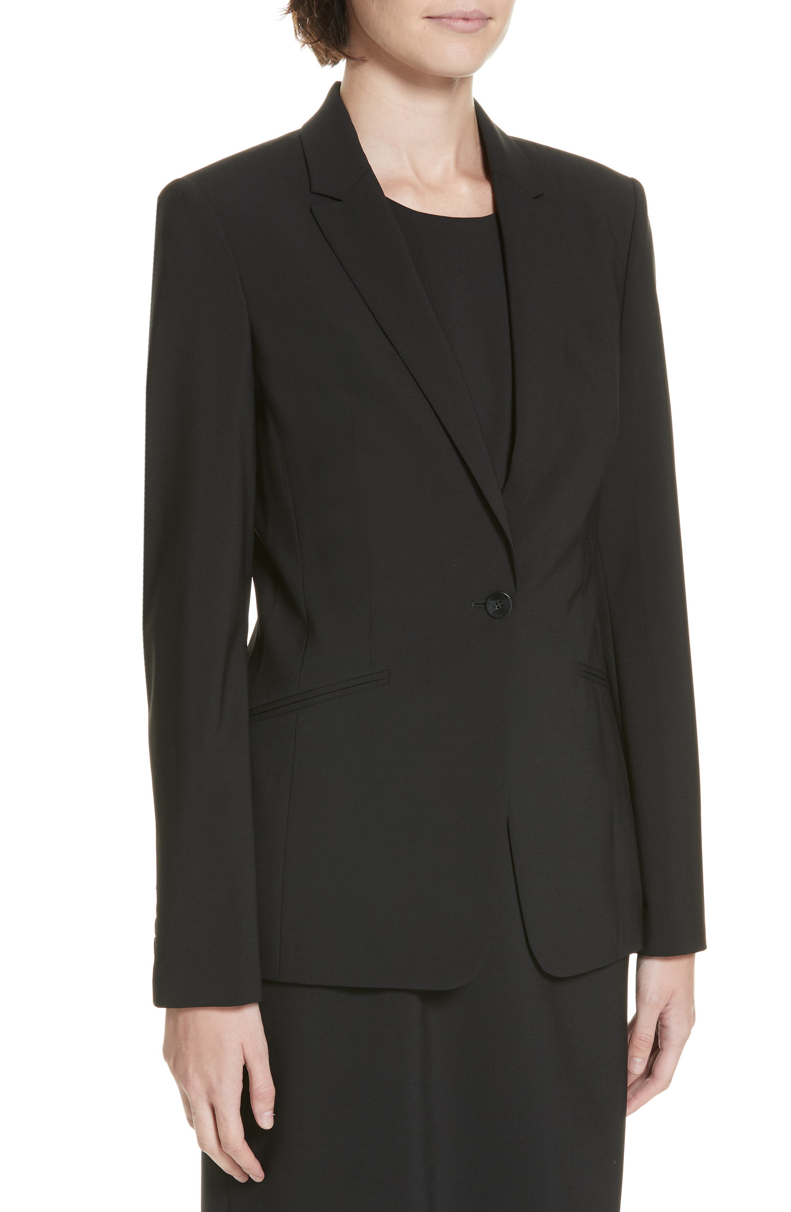 BOSS, Jabina Tropical Stretch Wool Jacket, Alternate thumbnail 5, color, BLACK