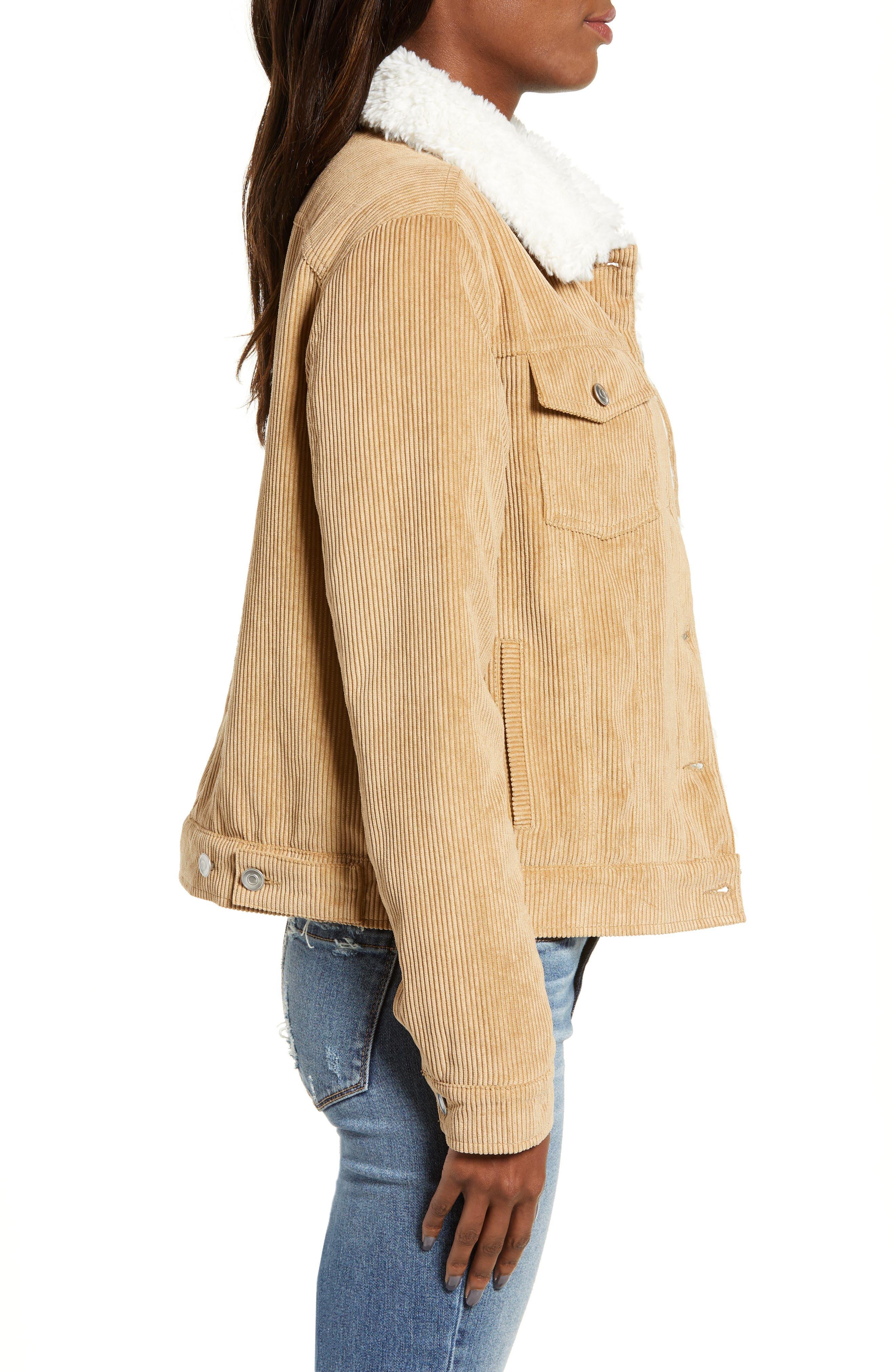 THREAD & SUPPLY, Paddington Fleece Lined Corduroy Jacket, Alternate thumbnail 4, color, KHAKI