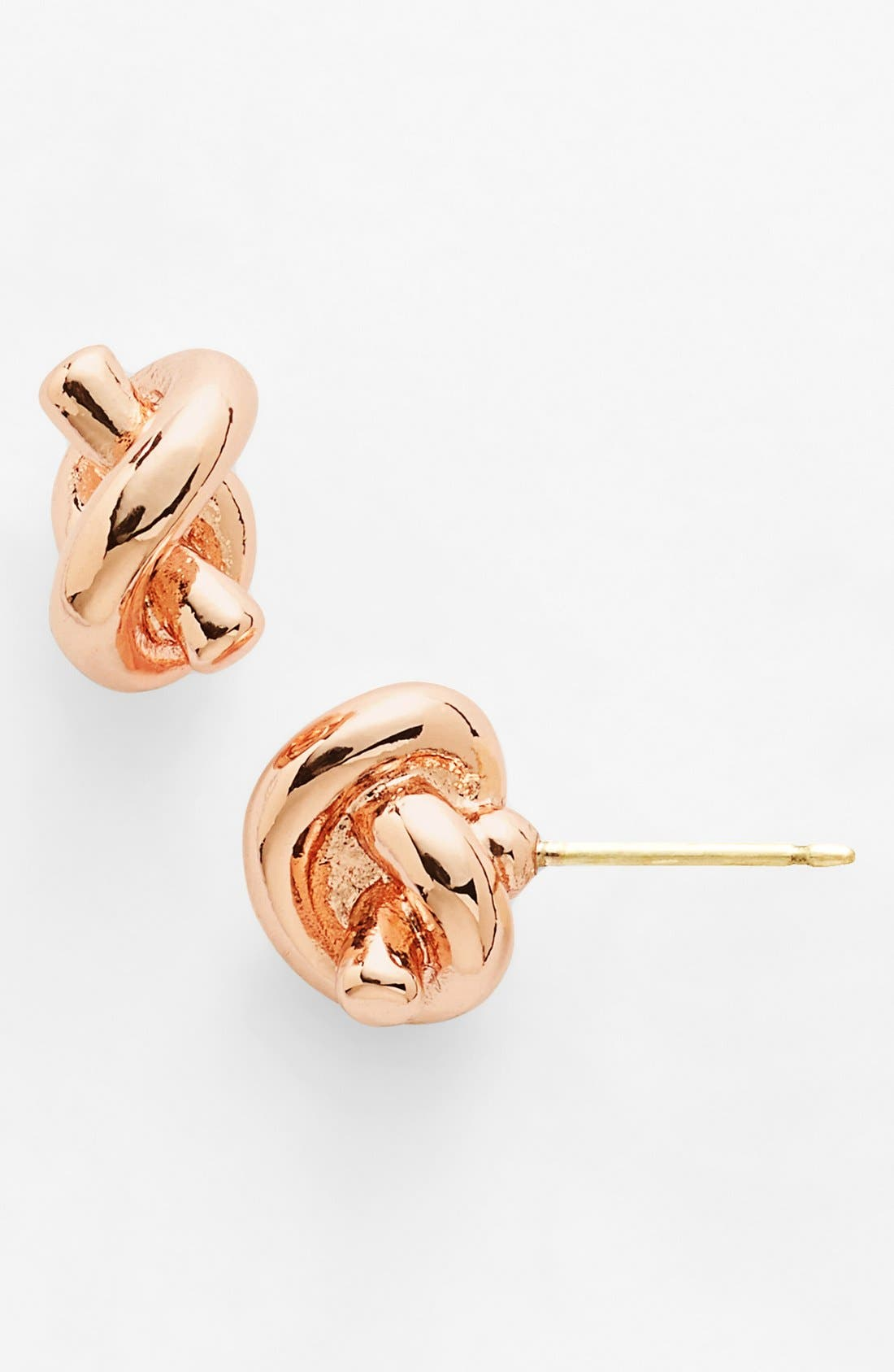 KATE SPADE NEW YORK 'sailors knot' mini stud earrings, Main, color, ROSE GOLD